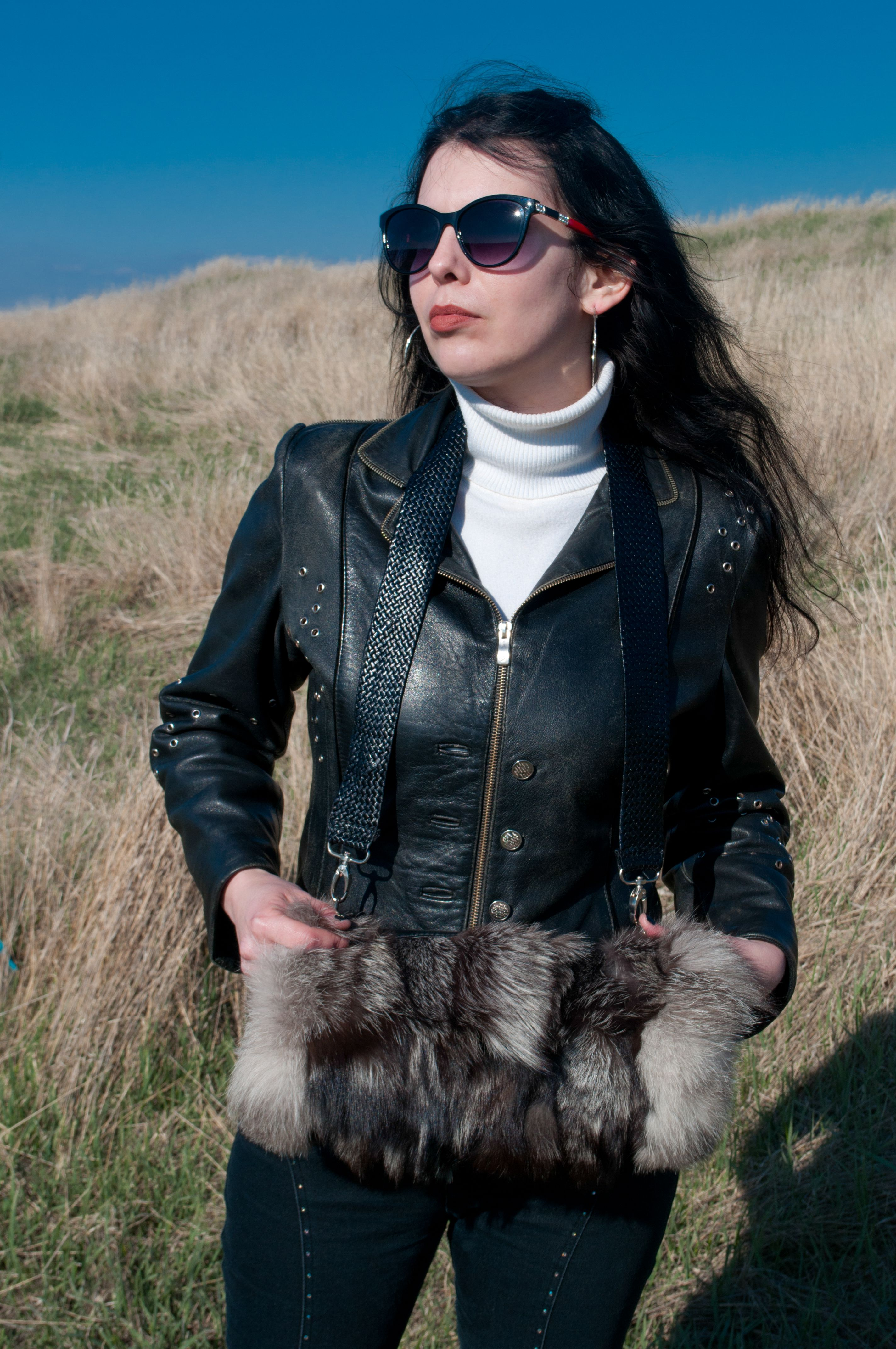 женская муфта кожаная яркие сумка эксклюзивные сумки кожи меха меховая