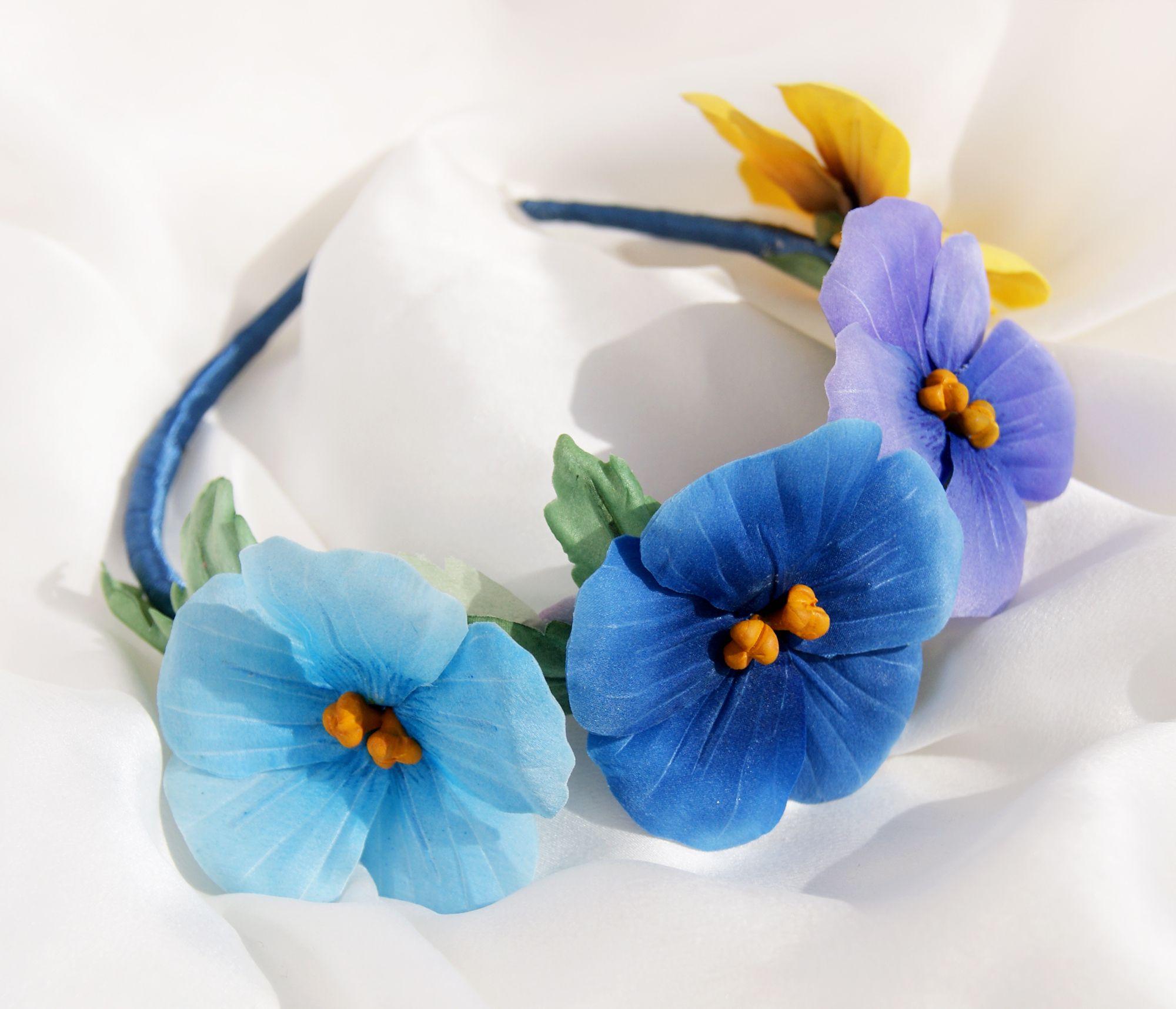 аксессуары ободок цветыизшелка цветы