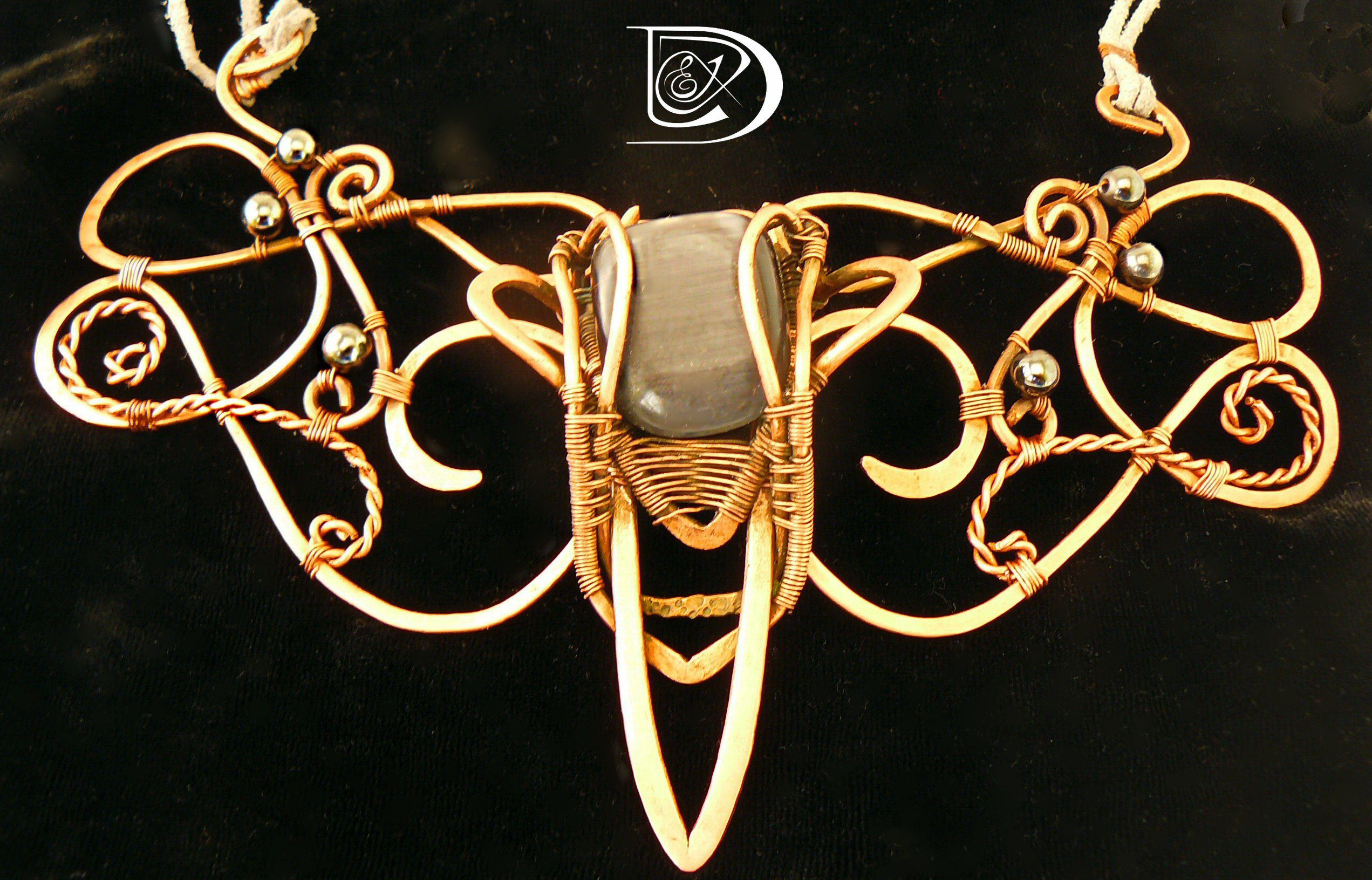 колье кулон медь красота handmade гематит кошачийглаз jewel кольеназаказ эльф wirewrap бижутерия стиль подарок