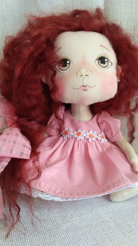 куклатекстильнаяавторскаяовечьи рыжаярозовый локоны подарок