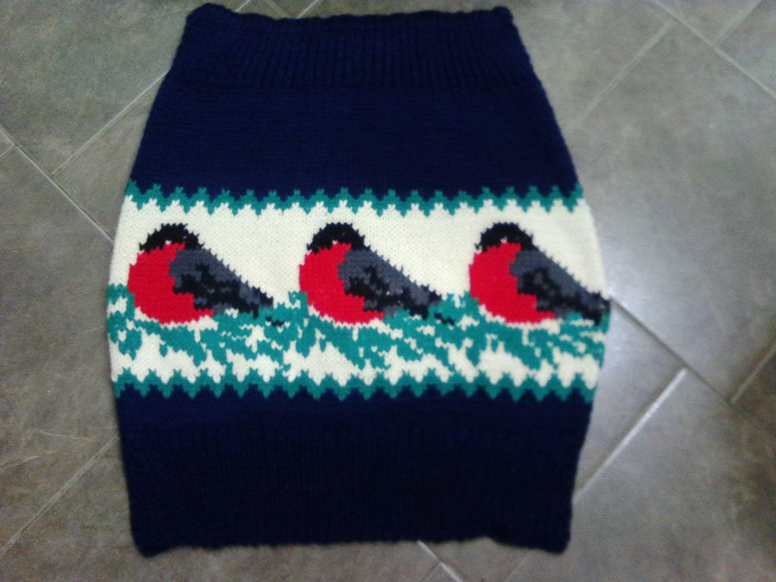 спицами вязанная больших размеров юбка теплая короткая