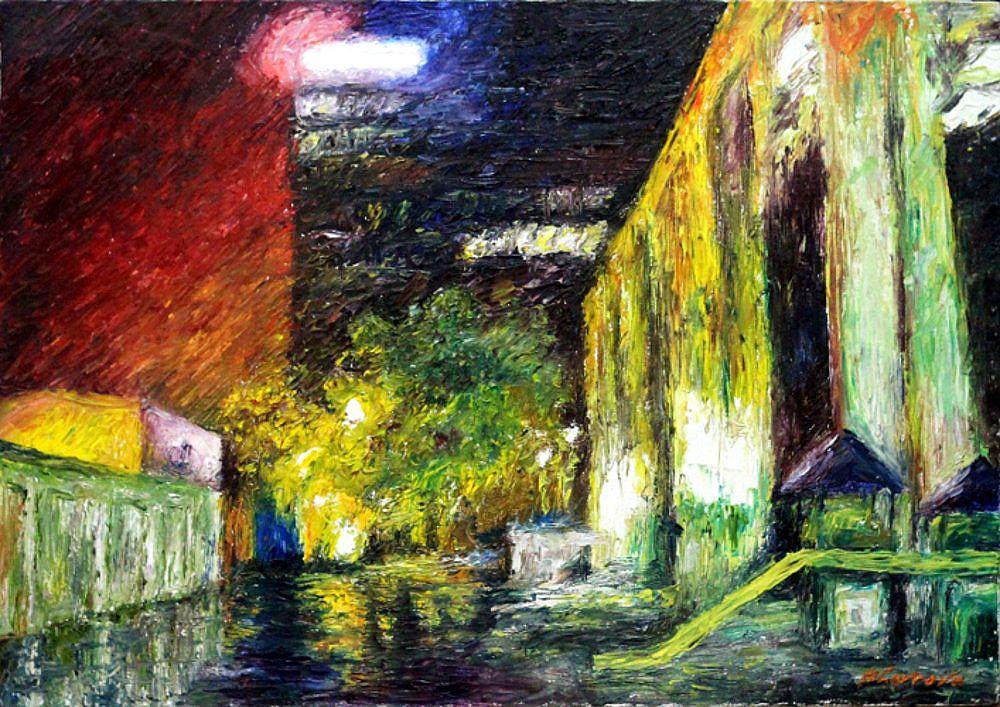 холст масло город дождь вечер живопись пейзаж мариналаврова импрессионизм