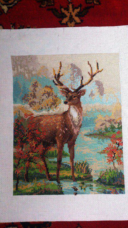 осень крестом вышивка олень животные