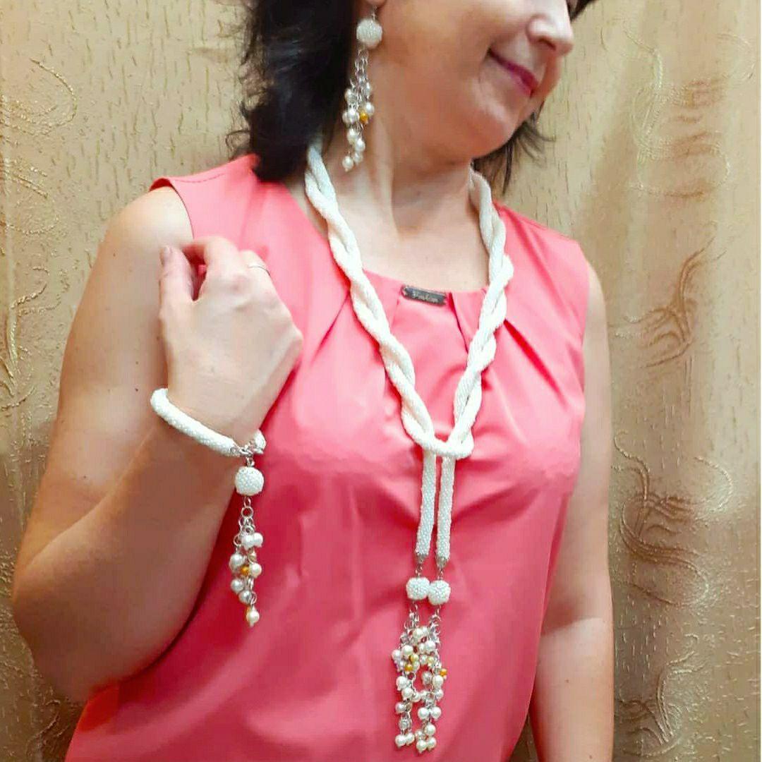 колье браслет серьги шикарное комплект украшение праздничное торжественное белое женское молочный нарядное
