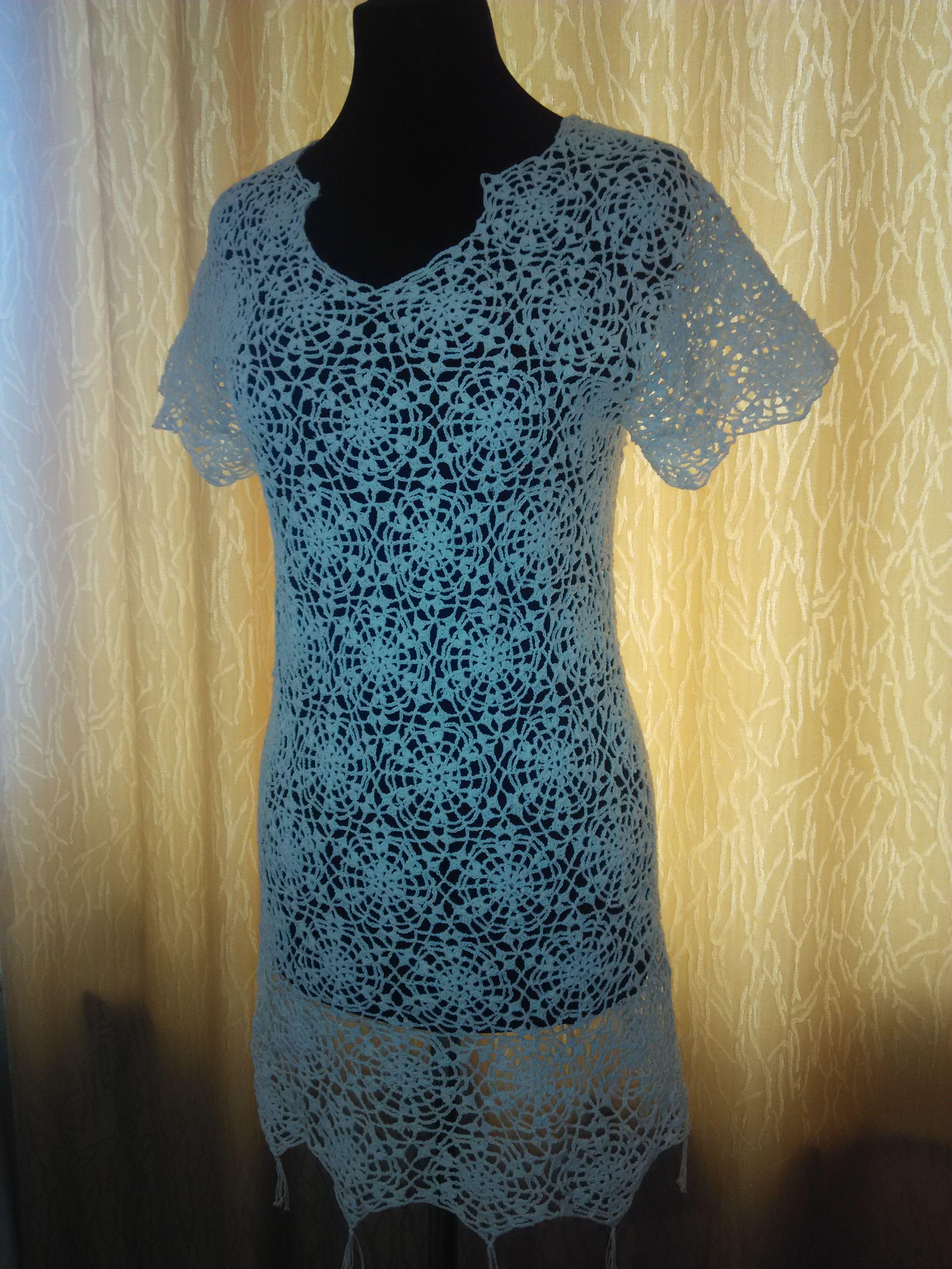 ажурная туника платье кружевная вязаная пляжная крючком топ