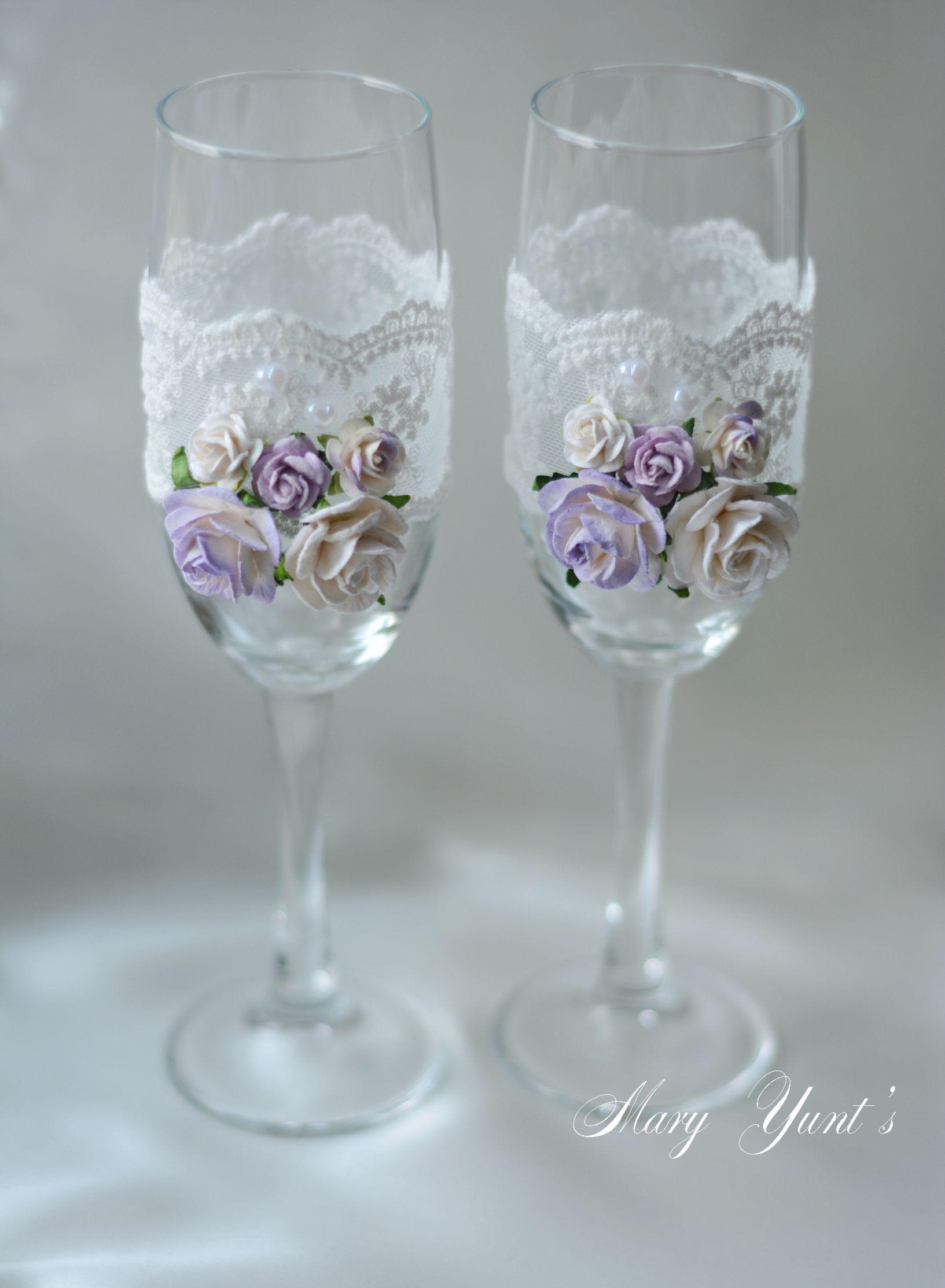 свадьба бокалы любовь декор свадебныеаксессуары