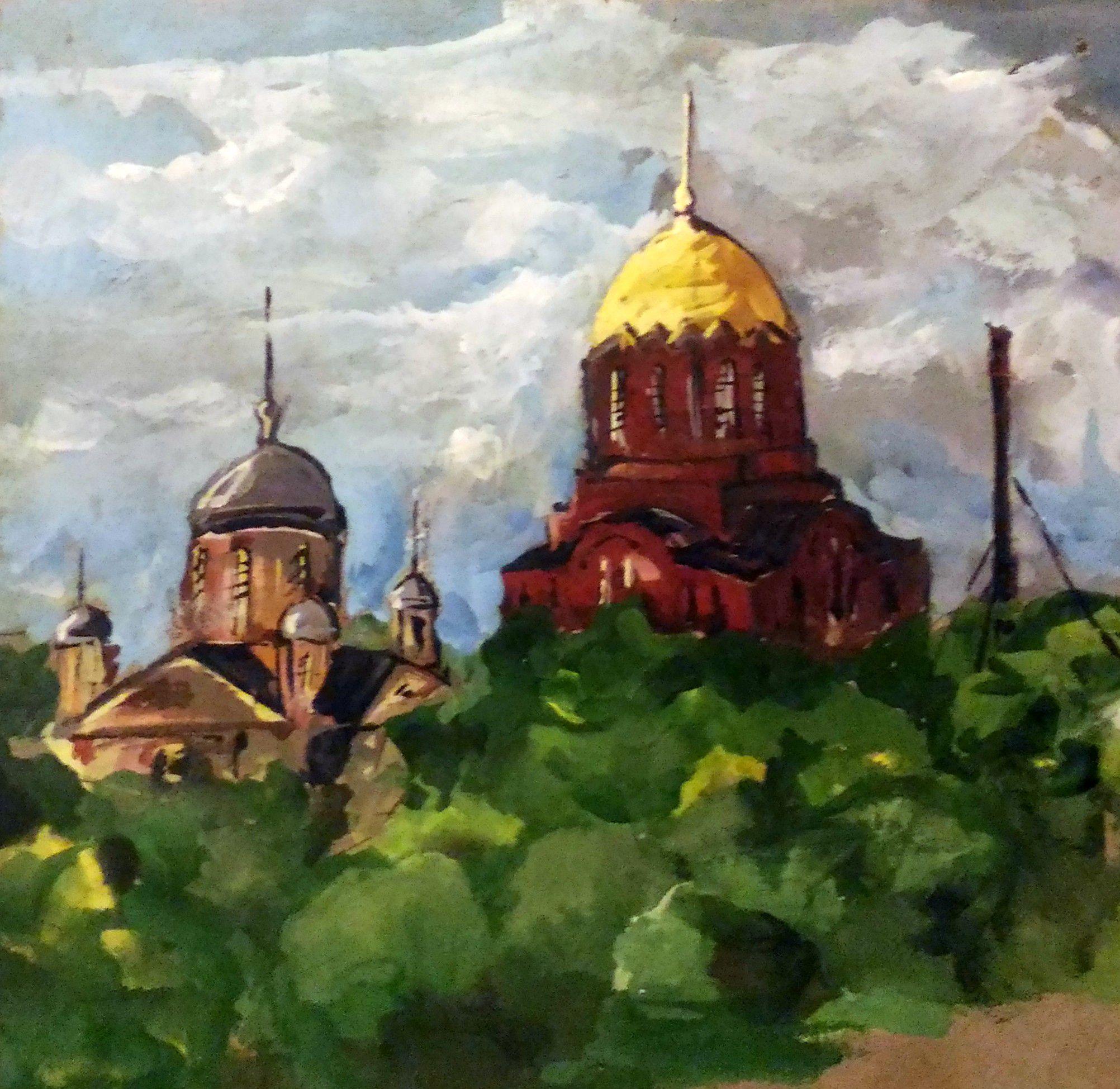 картина церковь лето храм подмосковье пейзаж летний