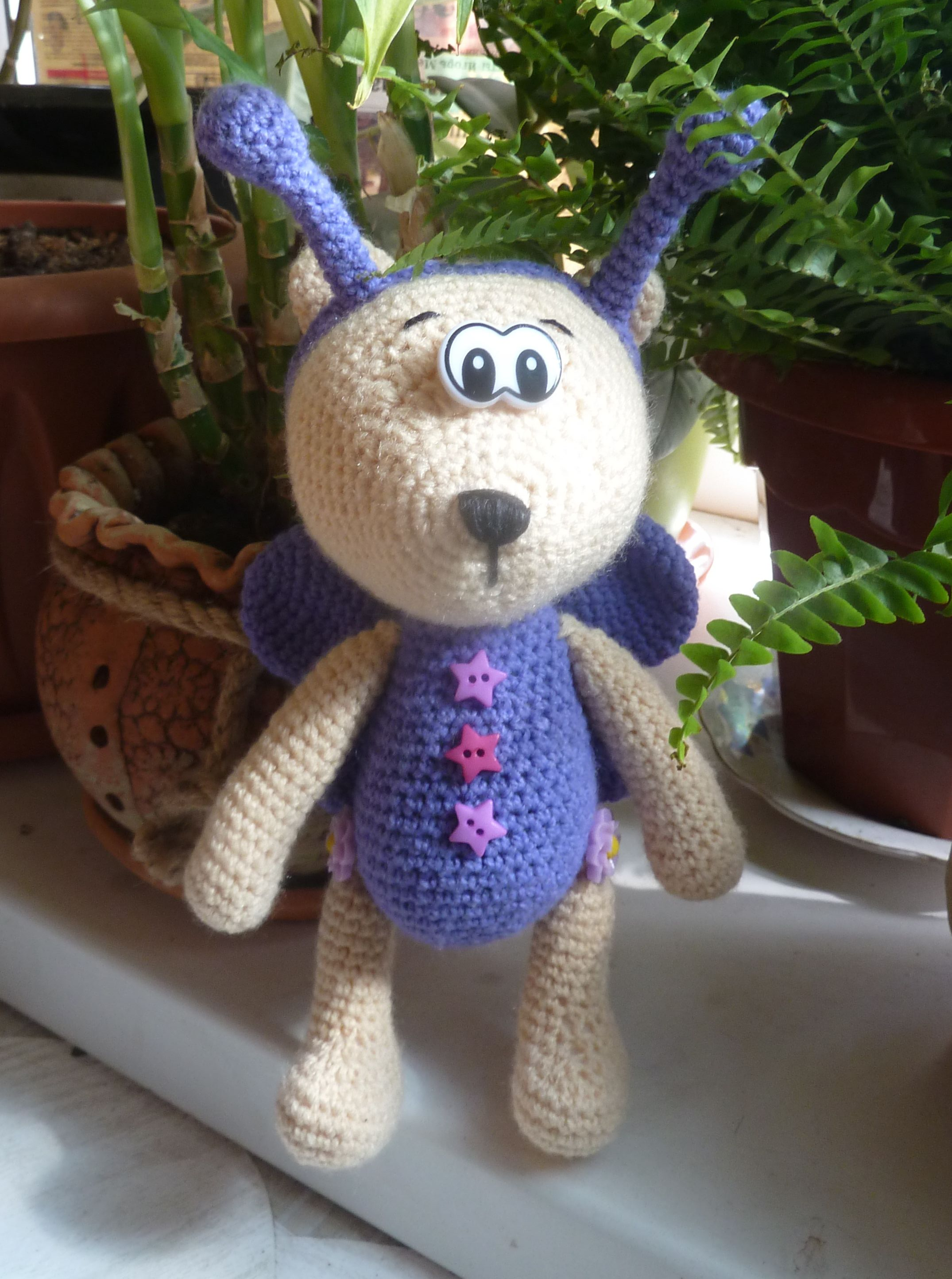 мишка игрушка дети вязание цветочек