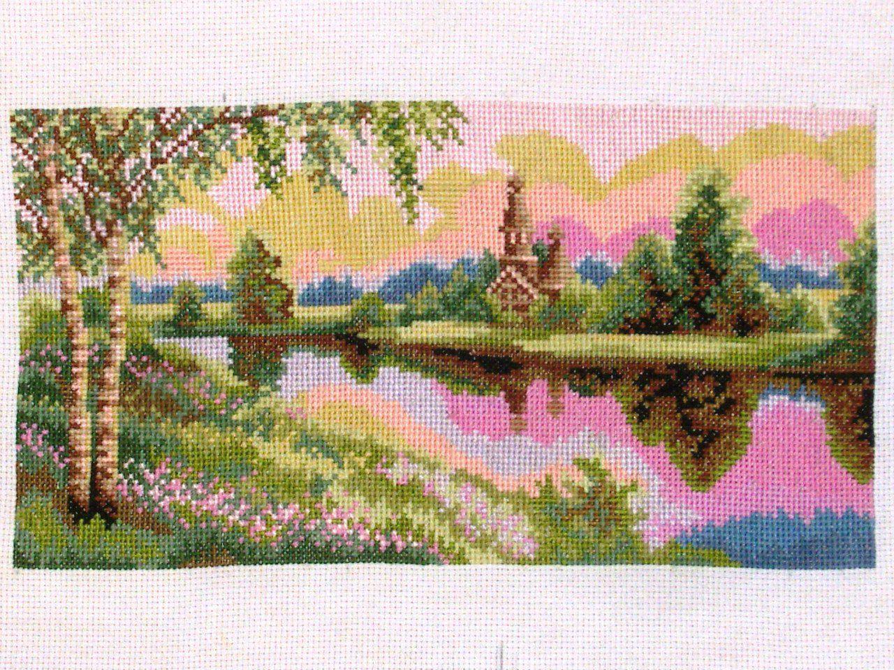 река природа вышивка вышитые картины
