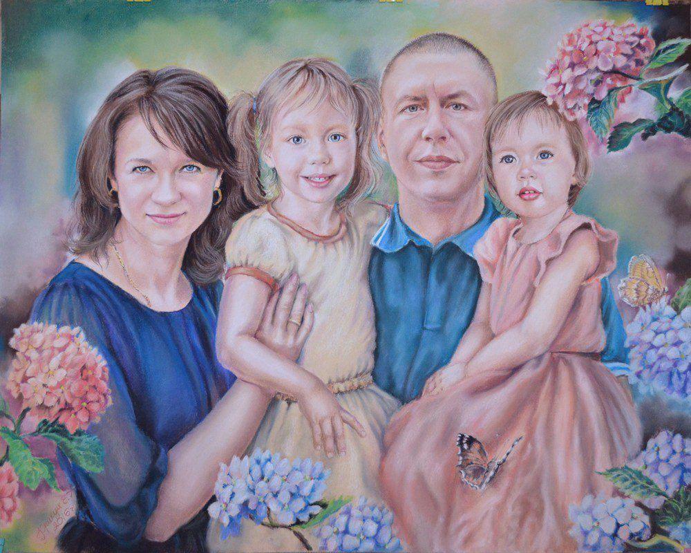 портрет искусство дизайн семья по картина подарок семейный мужской свадьба сувенир праздник художник украшение фантазийный ню парадный живопись юбилей детский женский фото на заказ графика
