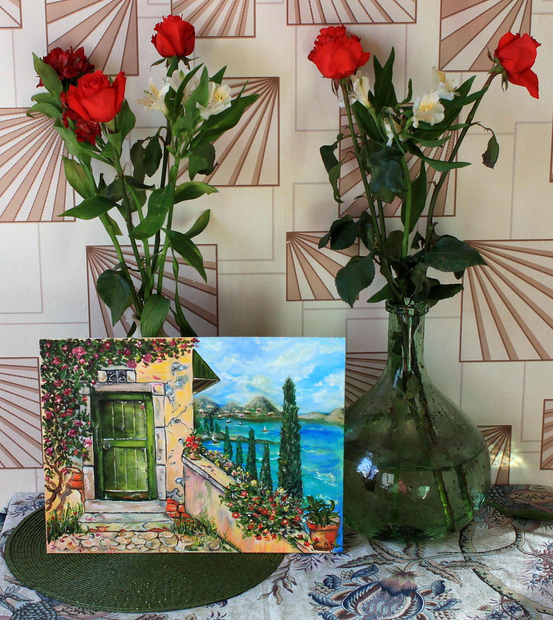 холст море масло лоза дверь лето цветы