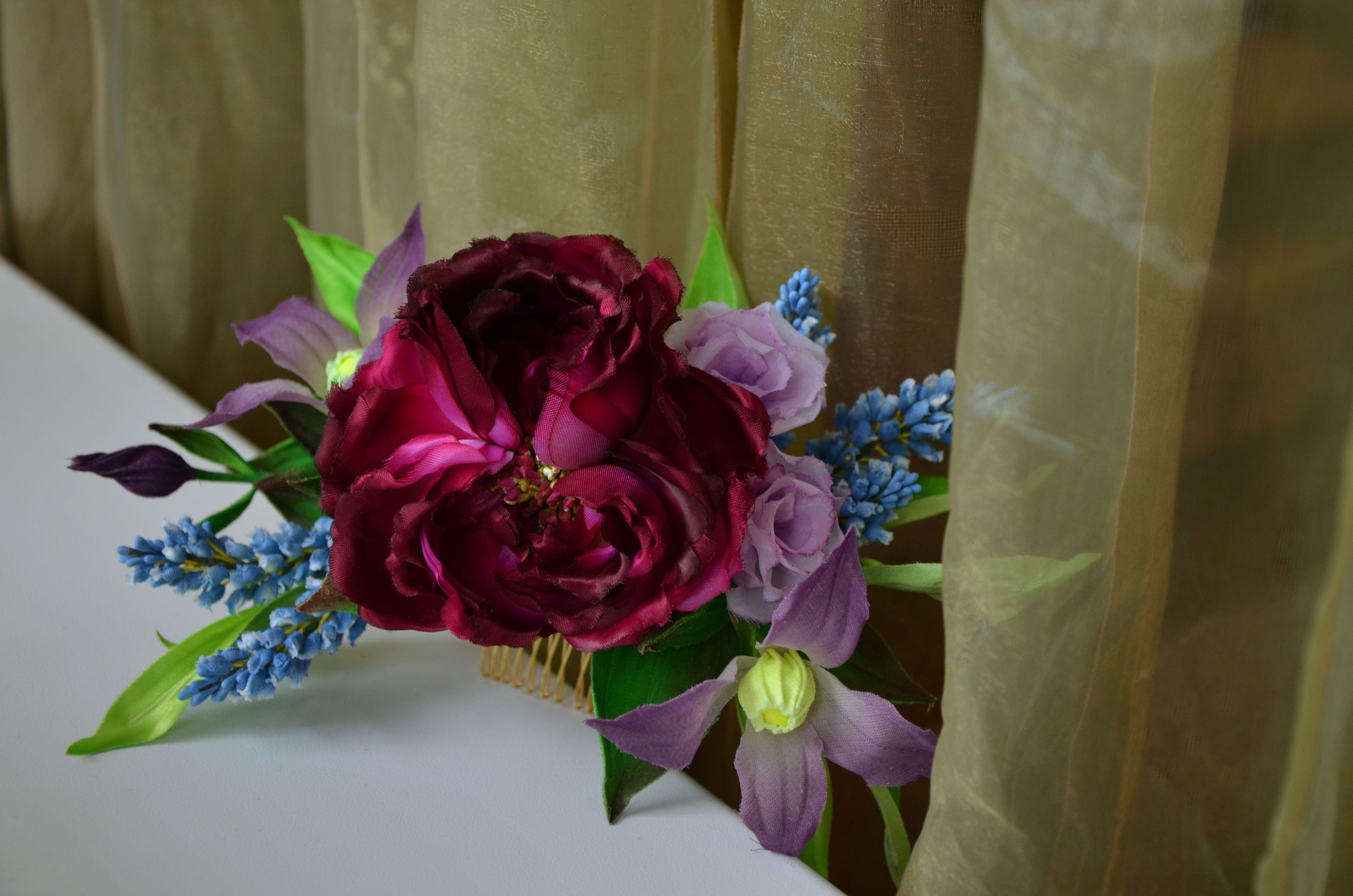 шелк аксессуар флористика гребень свадьба цветы подарок