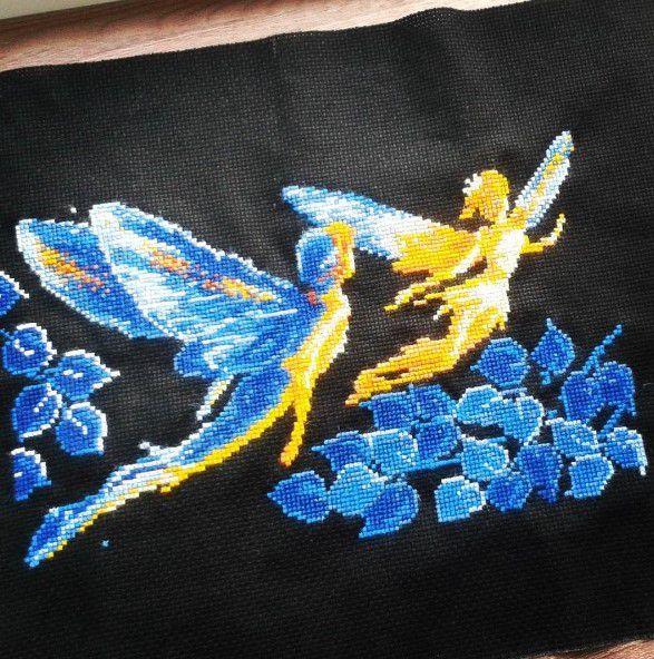 картина ночь эльфы вышивка светлячки мулине крестики