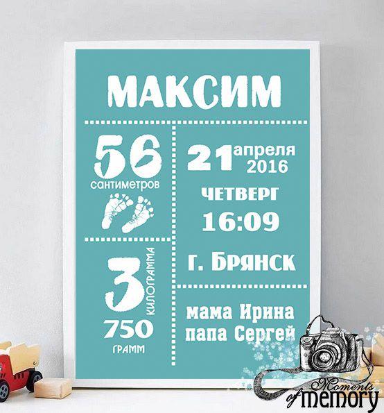 метрика коллаж открытка декоринтерьера постер деньрождения