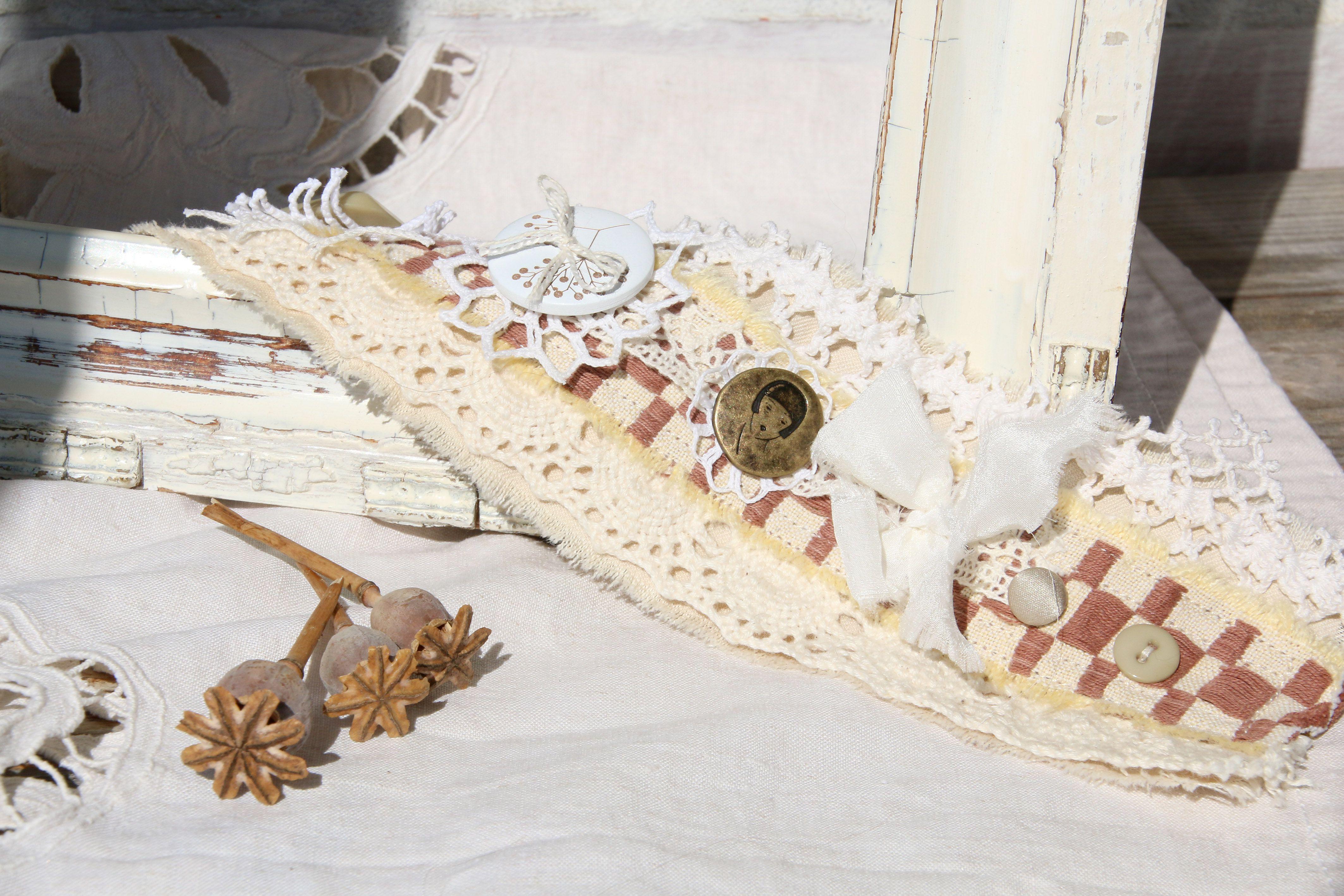ретро браслет текстильный кружевной кость шоколадный слоновая шеби бронза молочный айвори натуральные винтаж