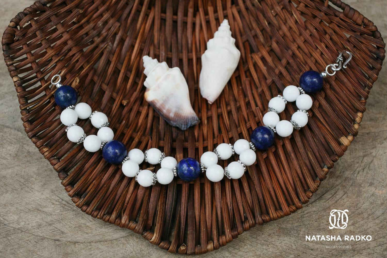 подарок браслет агат украшение серебро камни лазурит натуральные