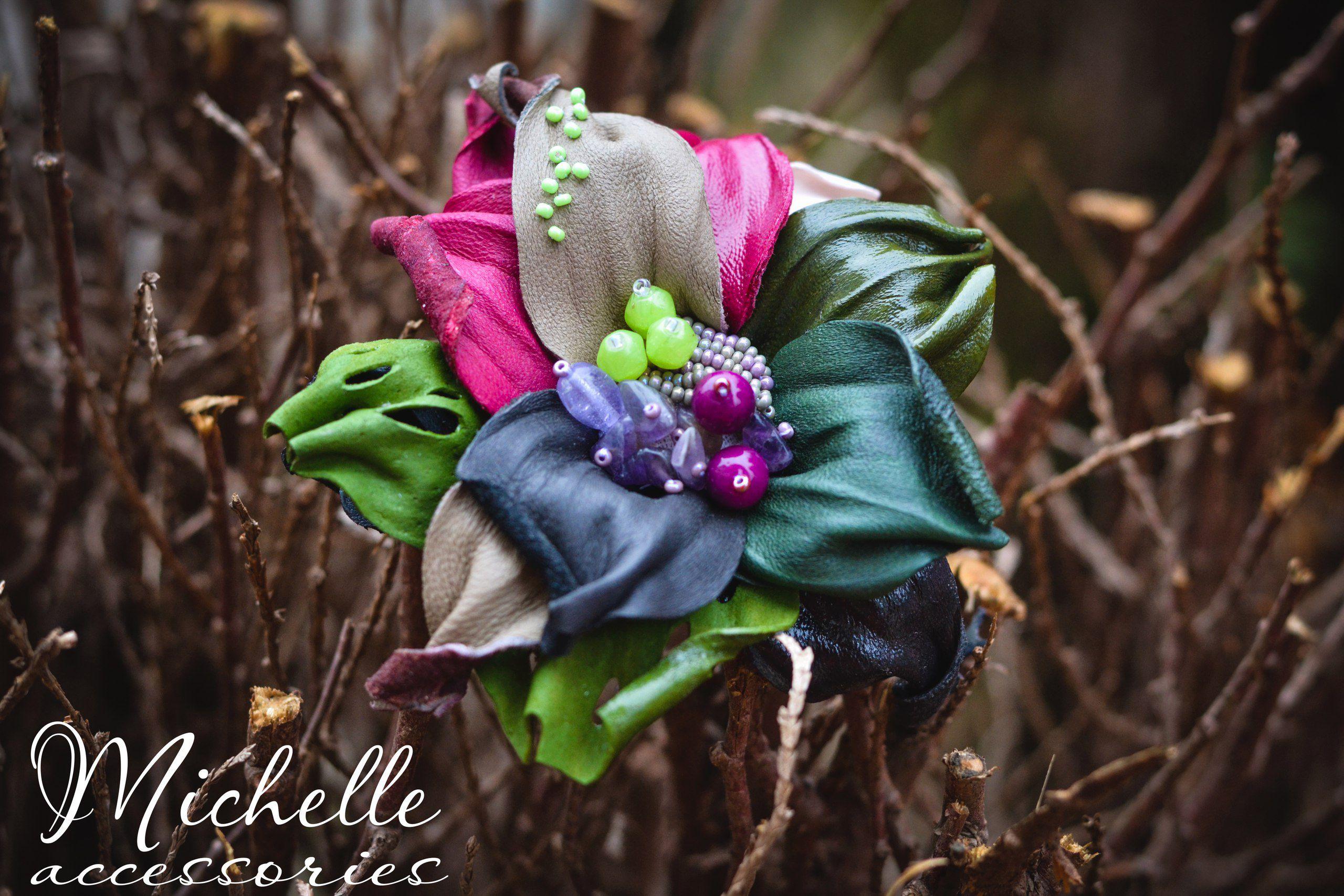 брошьизкожы купитьподарок купитьброшь кожаный замша брошь бисер ручная авторская бусинки кожа цветок подарок