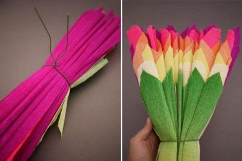 Цветы из гофрированной бумаги своими руками 10