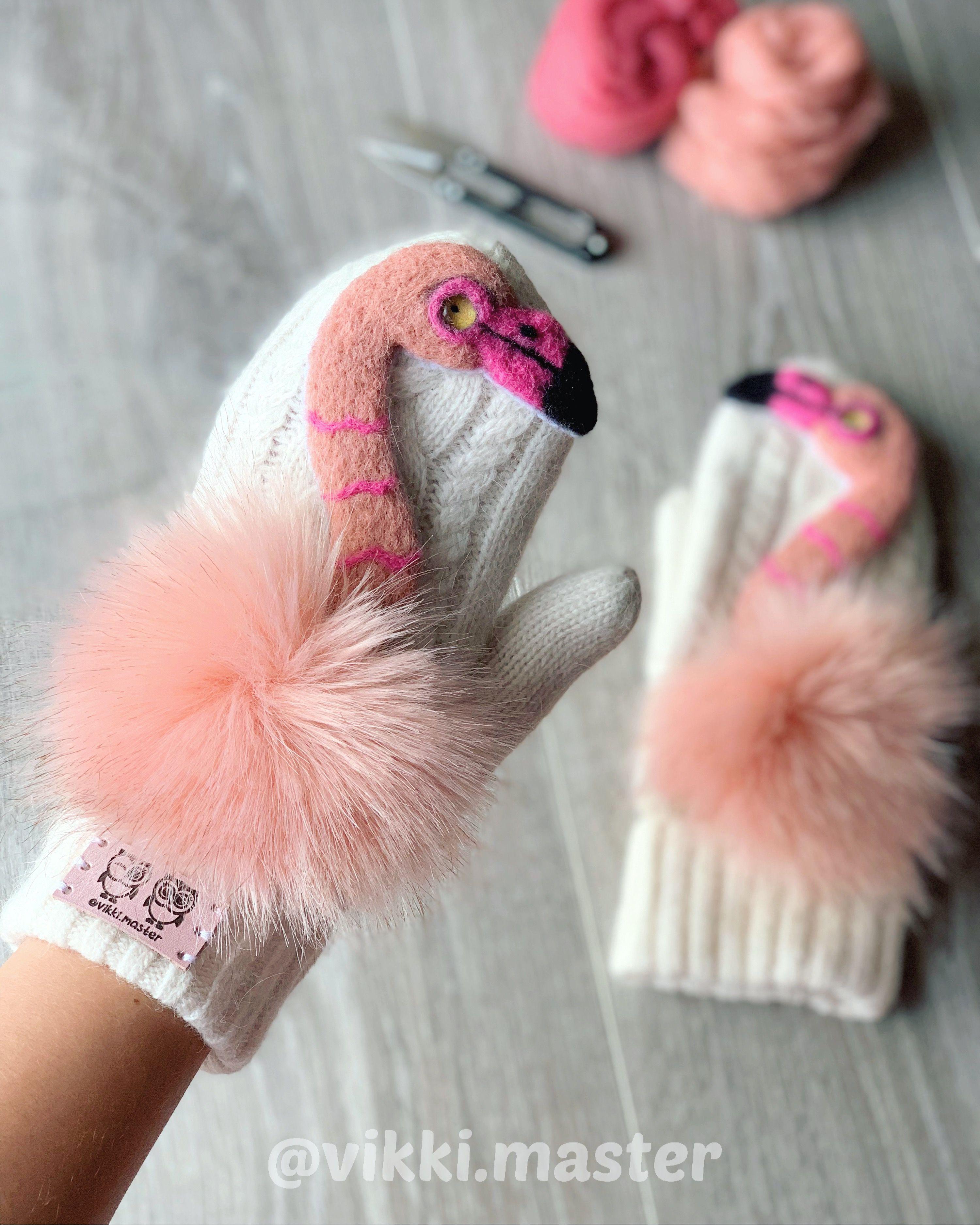 птицы игрушка розовый звероварежки фламинго варежки подарок