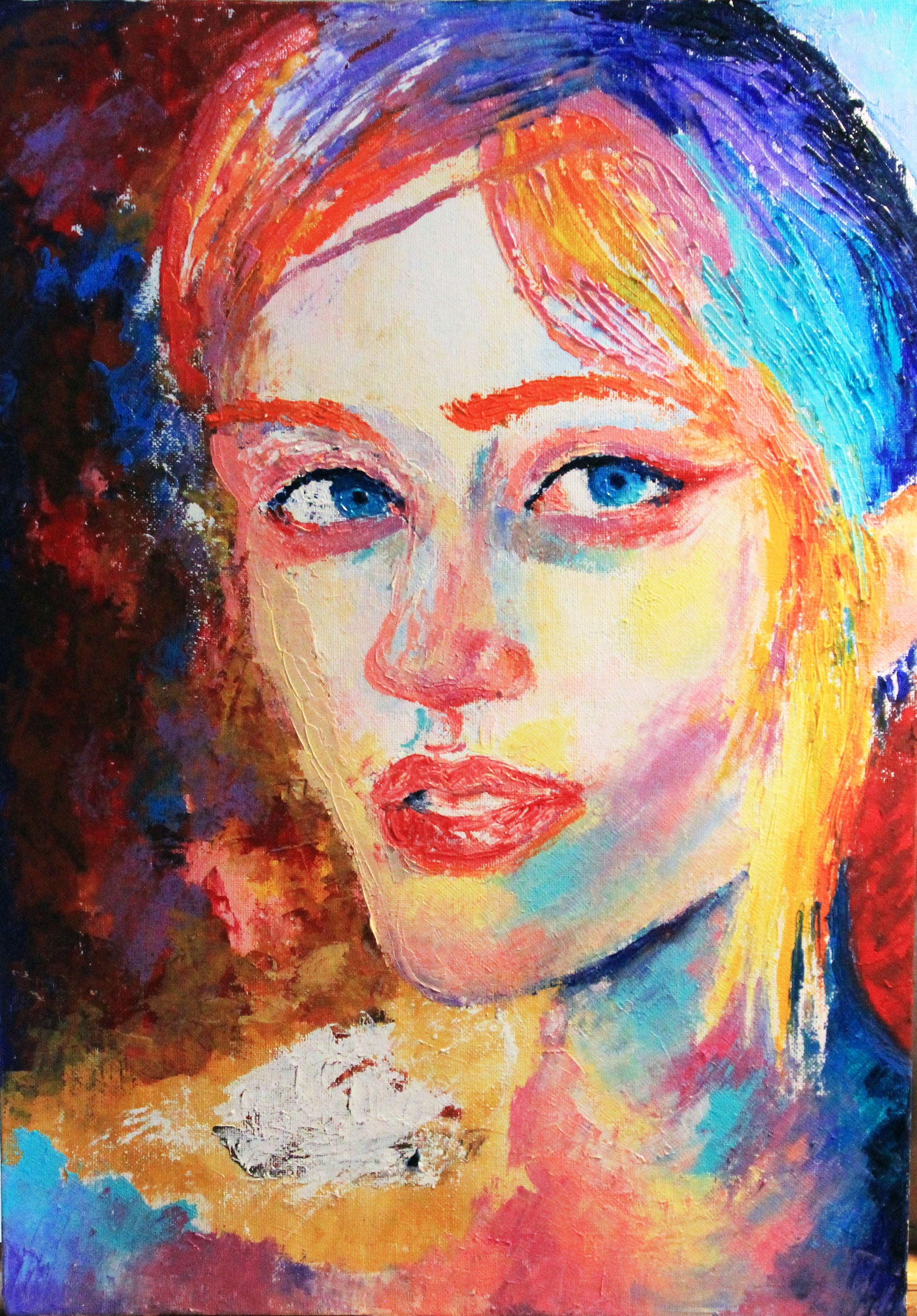 люди абстракция девушка холст живопись портрет мастихин масло