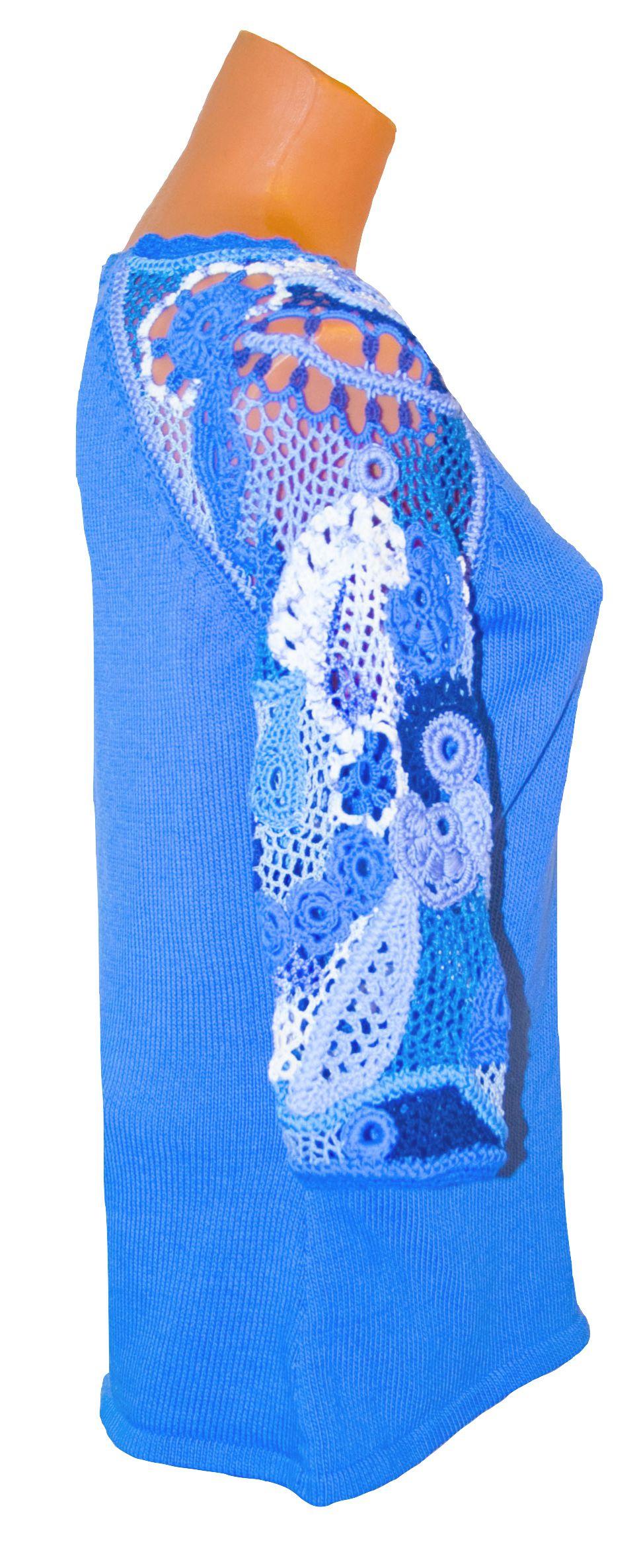авторская ажурная кружево из цветочный ручная техника ирландское туника смешанная cиний вязаная хлопка работа фриволите