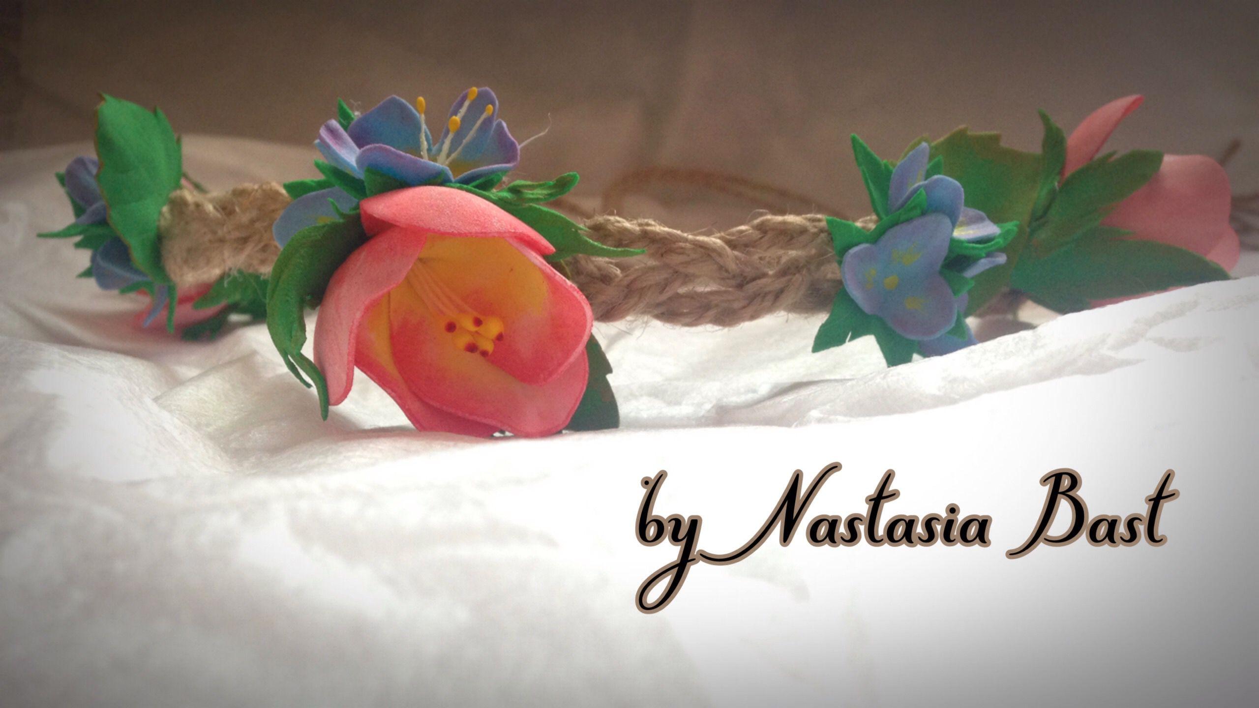 венок цветы фоамиран украшение головнойубор ручнаяработа