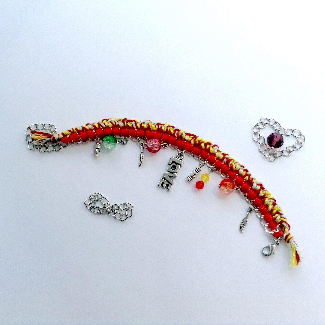 браслет бусины цепи handmade украшения мулине бижутерия