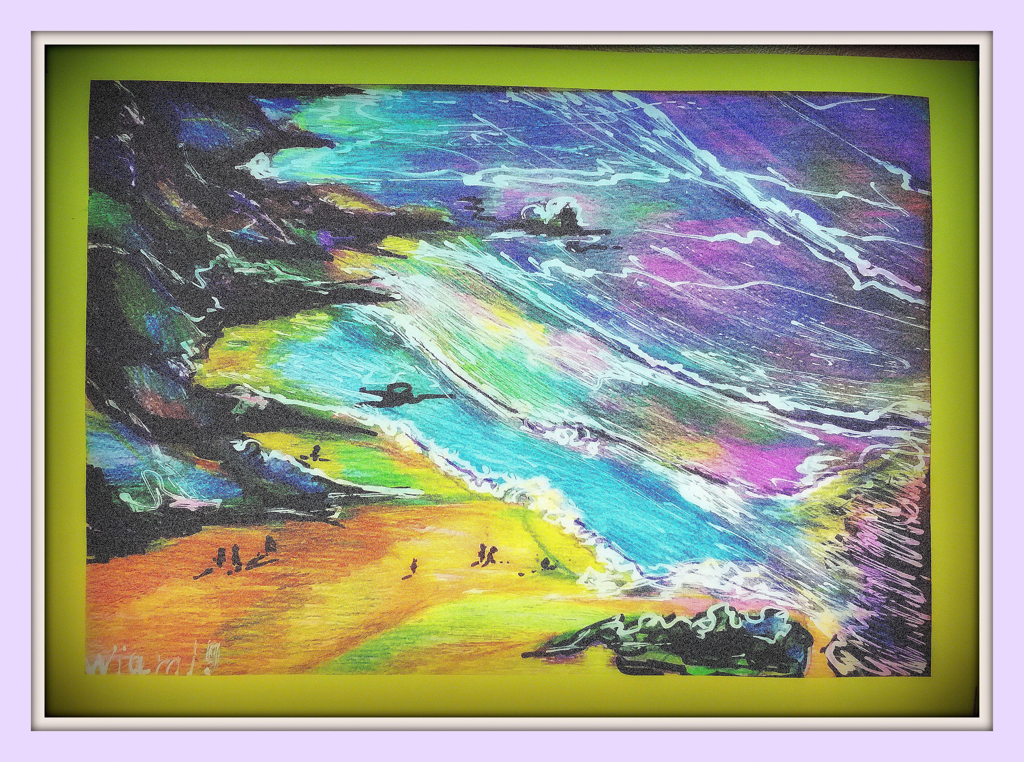 море пена прибой песок горы морская