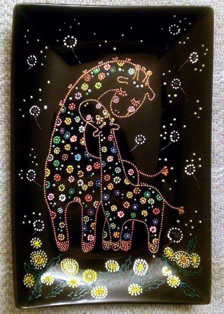 ручнаяработа подарок жирафы декоративнаятарелка декор точечнаяроспись тарелка жираф handmade