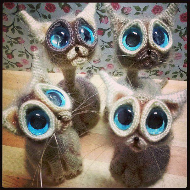 интерьерная глаза большие вязание игрушка крючком кот