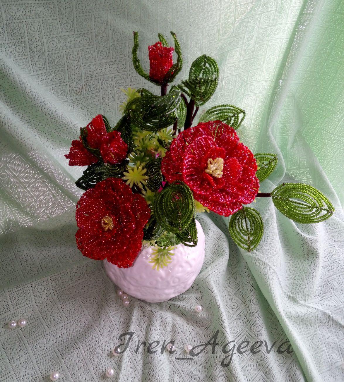 цветы подарок праздник юбилей бисер камелия ручнаяработа