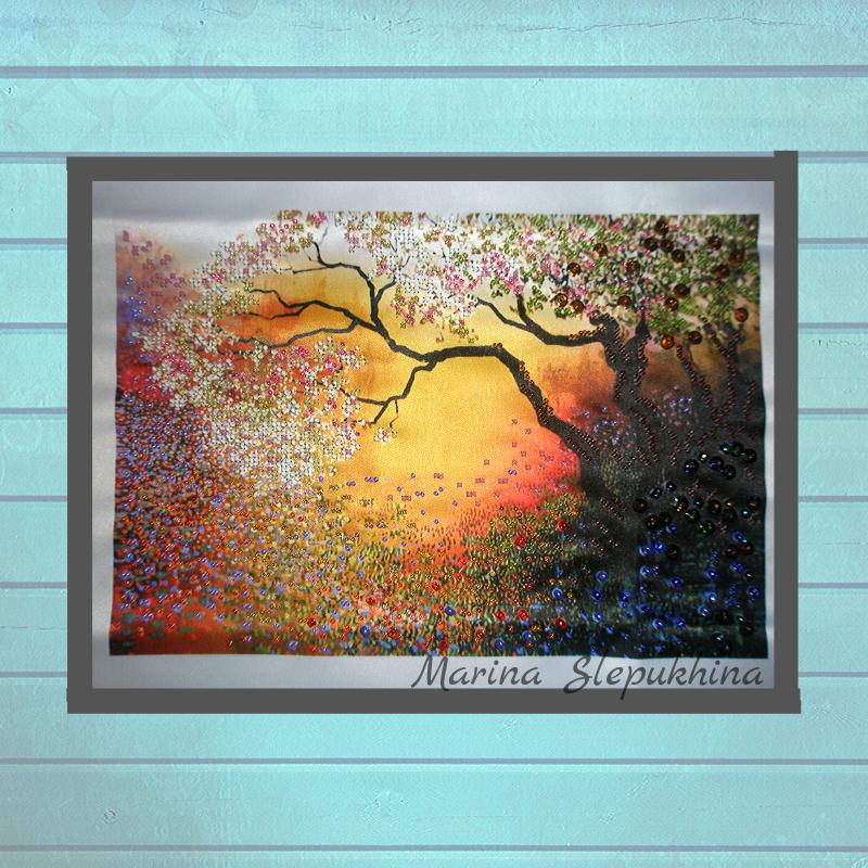 подруге интерьера бисер панно маме женщине лесу водой рекой handmade картины утро любой работа ручная для пейзаж девушке подарок картина купить случай