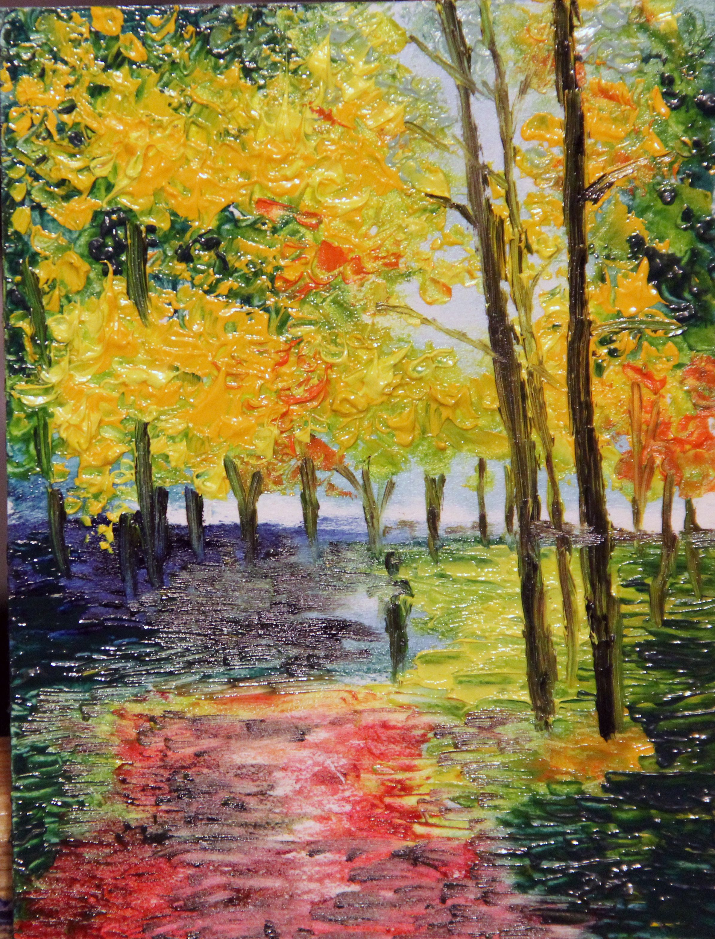 холст парк масло мастихин абстракция осень лето живопись пейзаж бабье