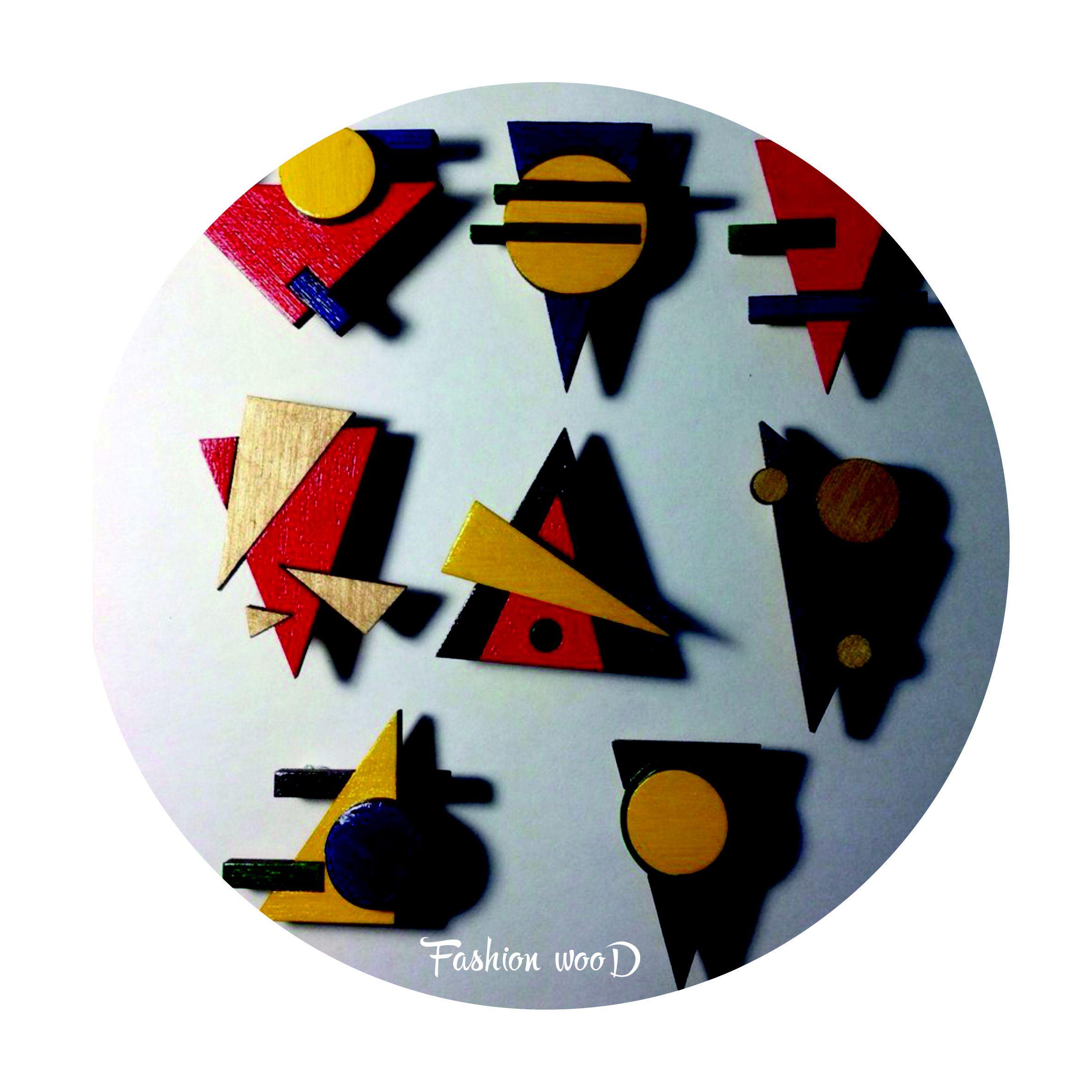подарок абстракция художнику дизайнеру деревяннаяброшь брошка