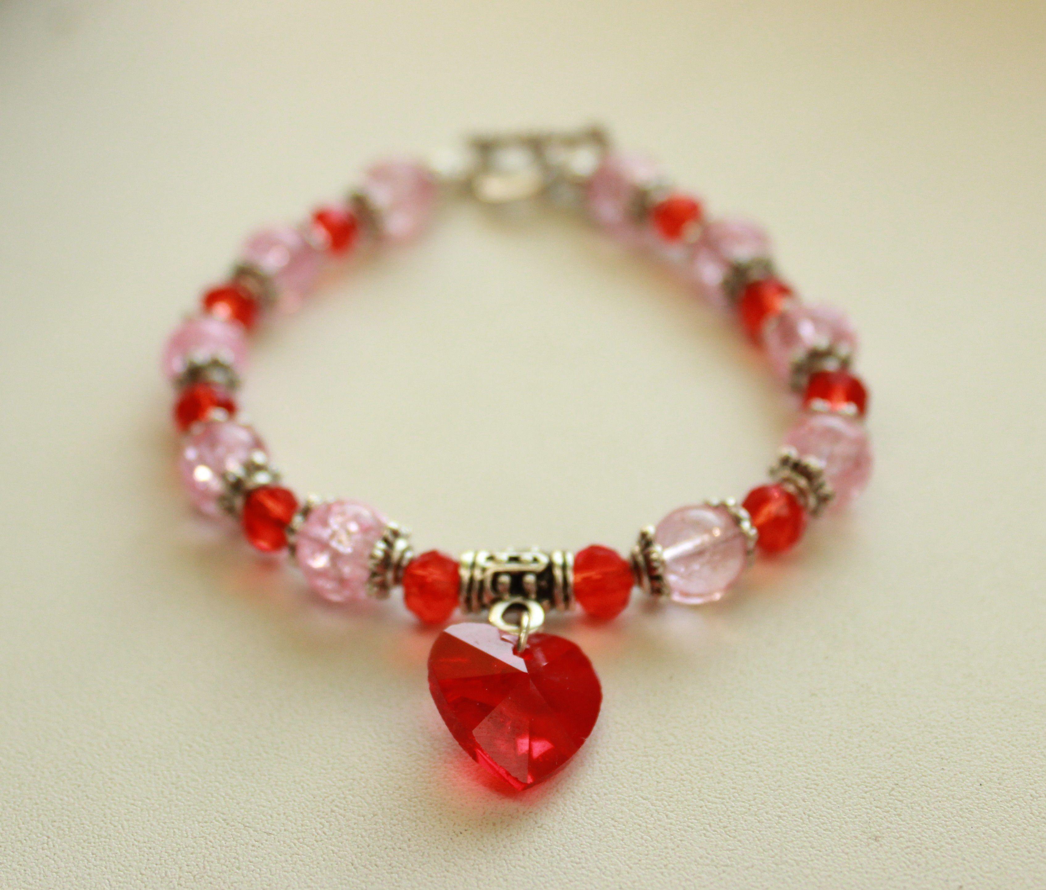 бусина нежный романтичный украшение браслет сердце бижутерия розовый яркий красный стекло
