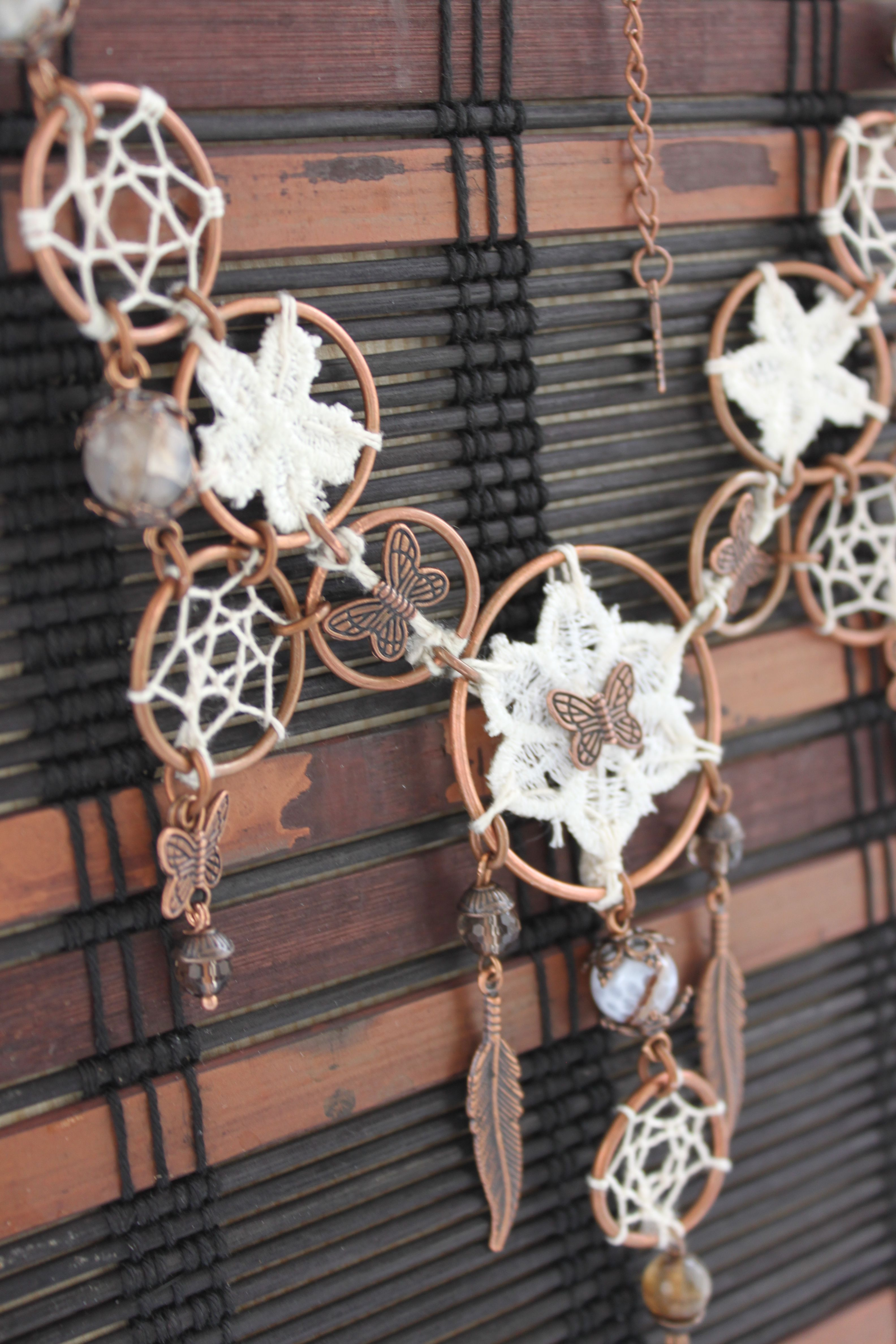 нежность медь подарок handmade красота твойстиль ловцы стиль украшение бохо ручнаяработа кружево перья хлопок boho