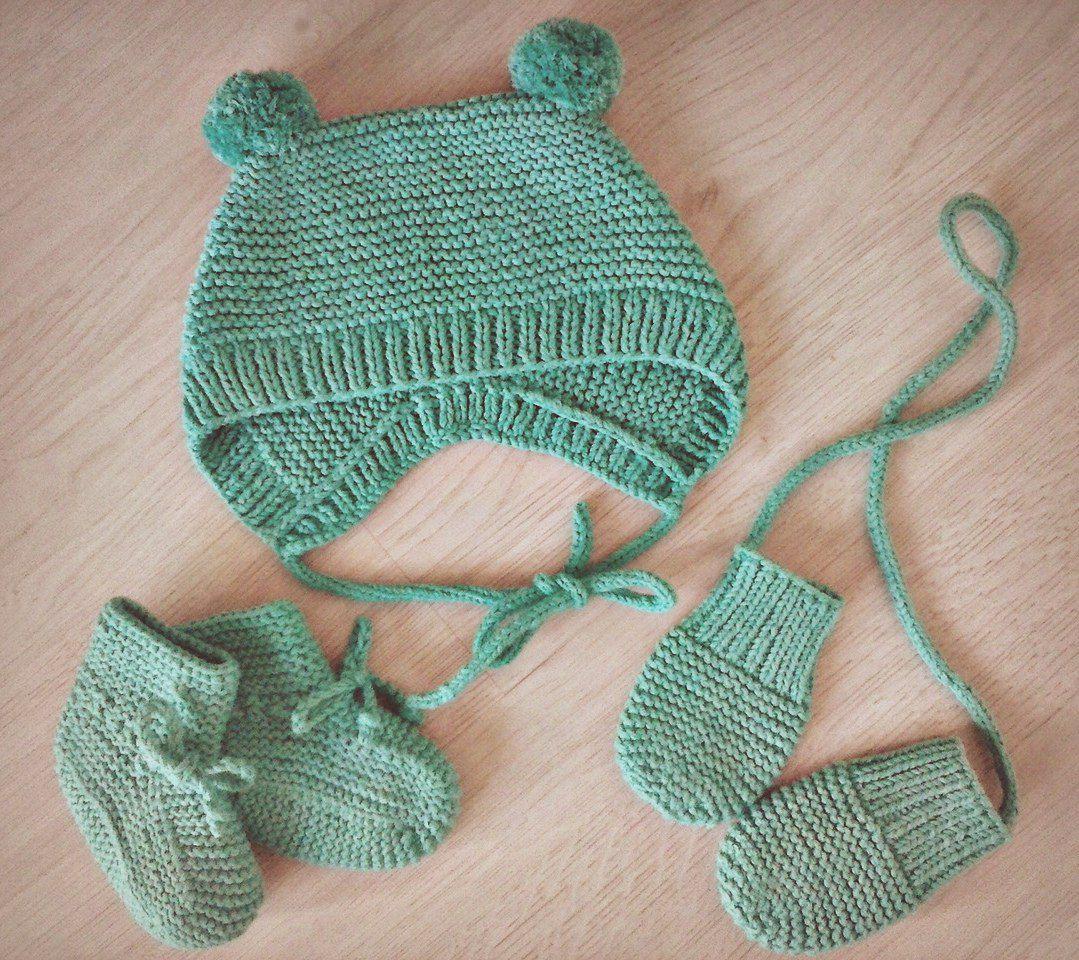 вязание комплект малышам заказ новорожденным царапки спицы пинетки чепчик