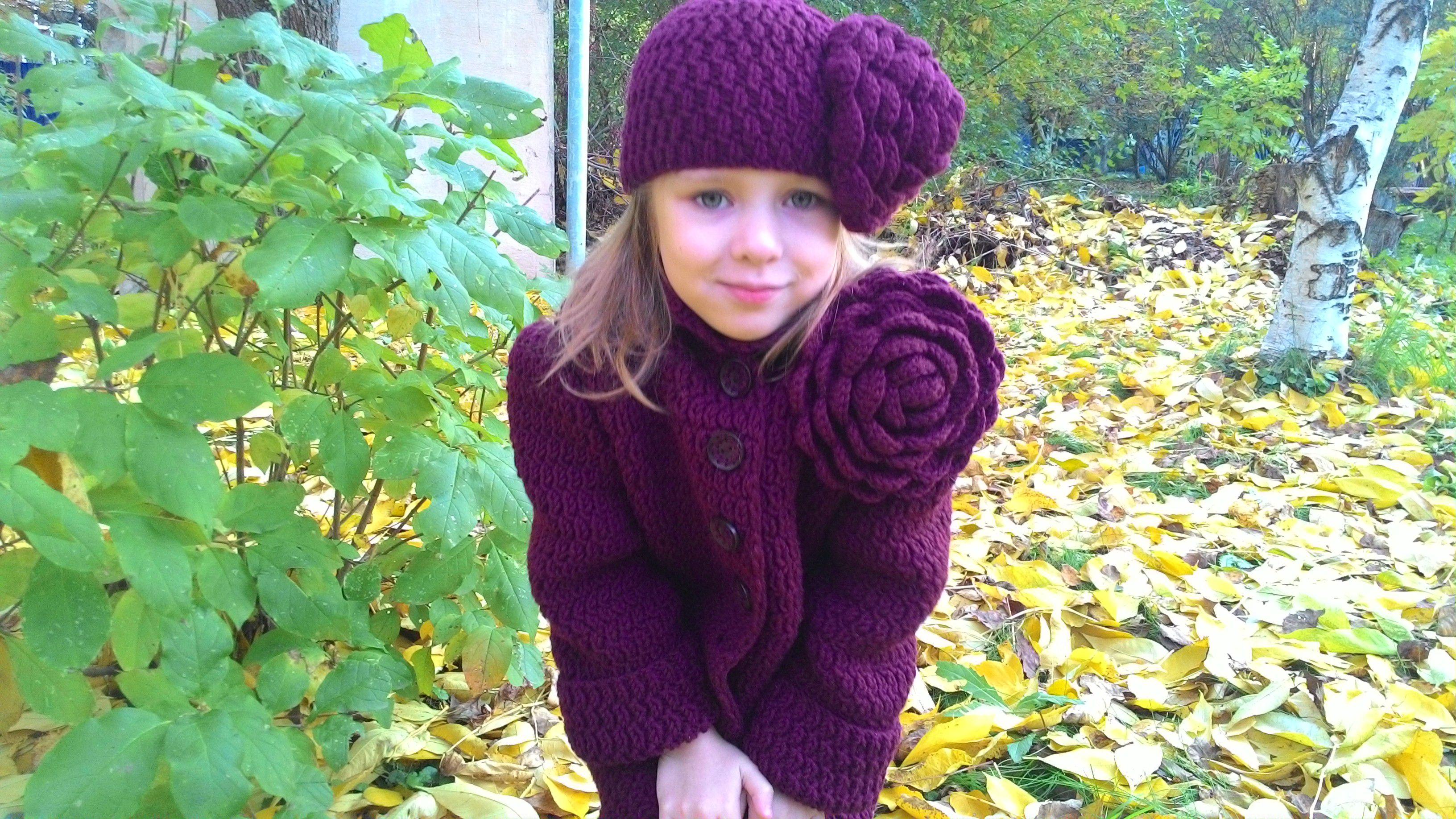 одежда вязание осенние детская девочек с детские спицами для шапка шапки розой
