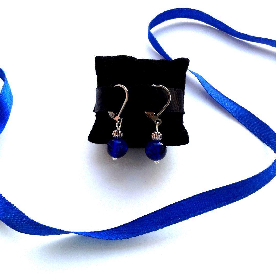 бусины украшение серьги handmade синий бижутерия