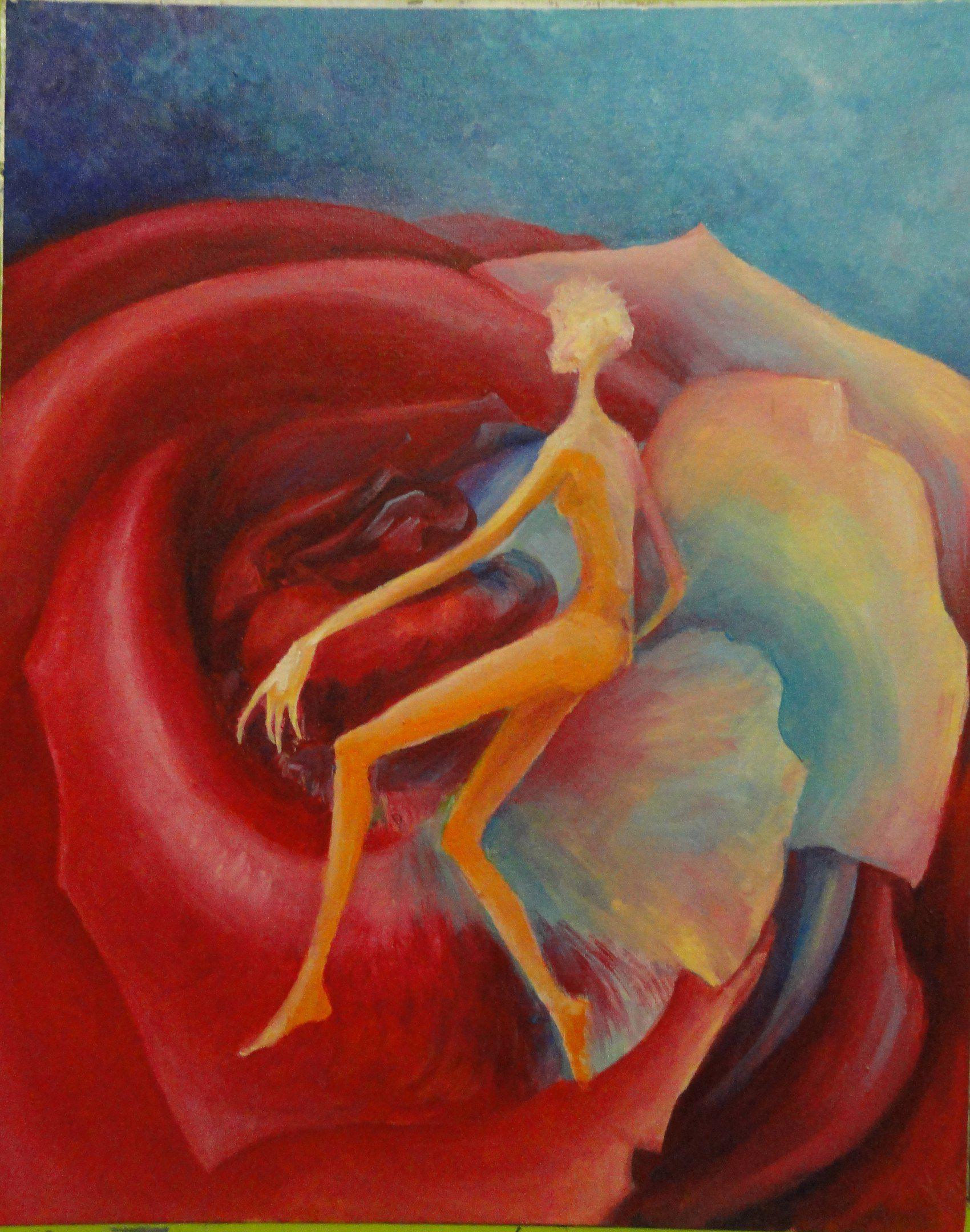 красиво роза живопись фантазия масло картина арт холст