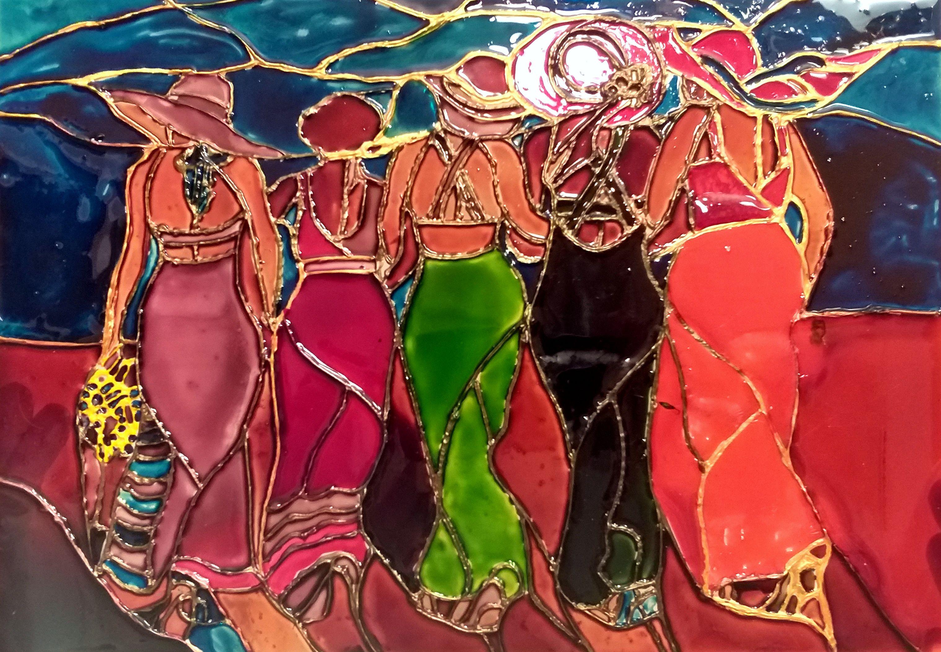 картина витражная пожруги траж роспиь шляпа прогулка стекло