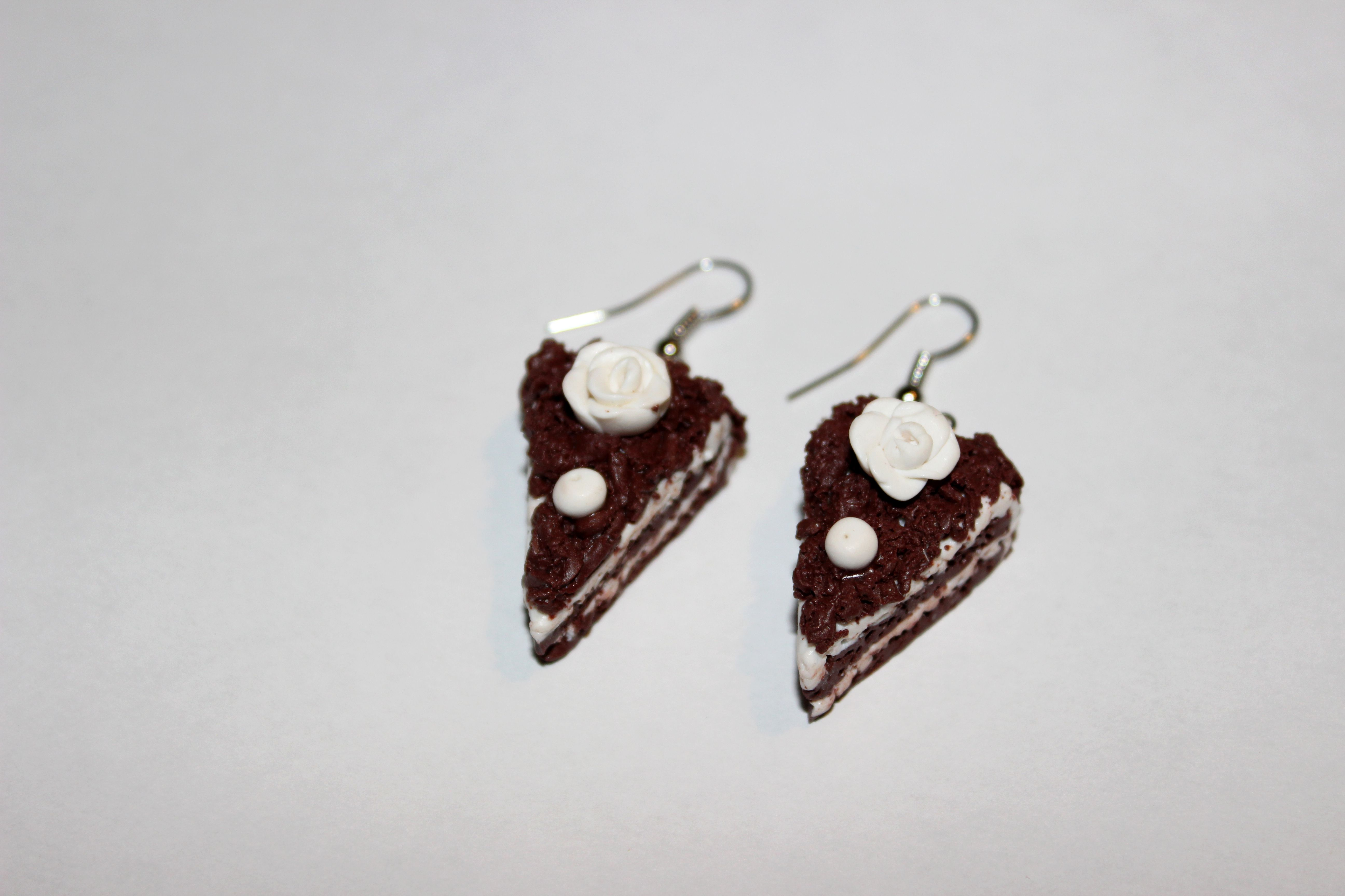 шоколад глина сладкое торт украшения серьги коричневый бижутерия белый