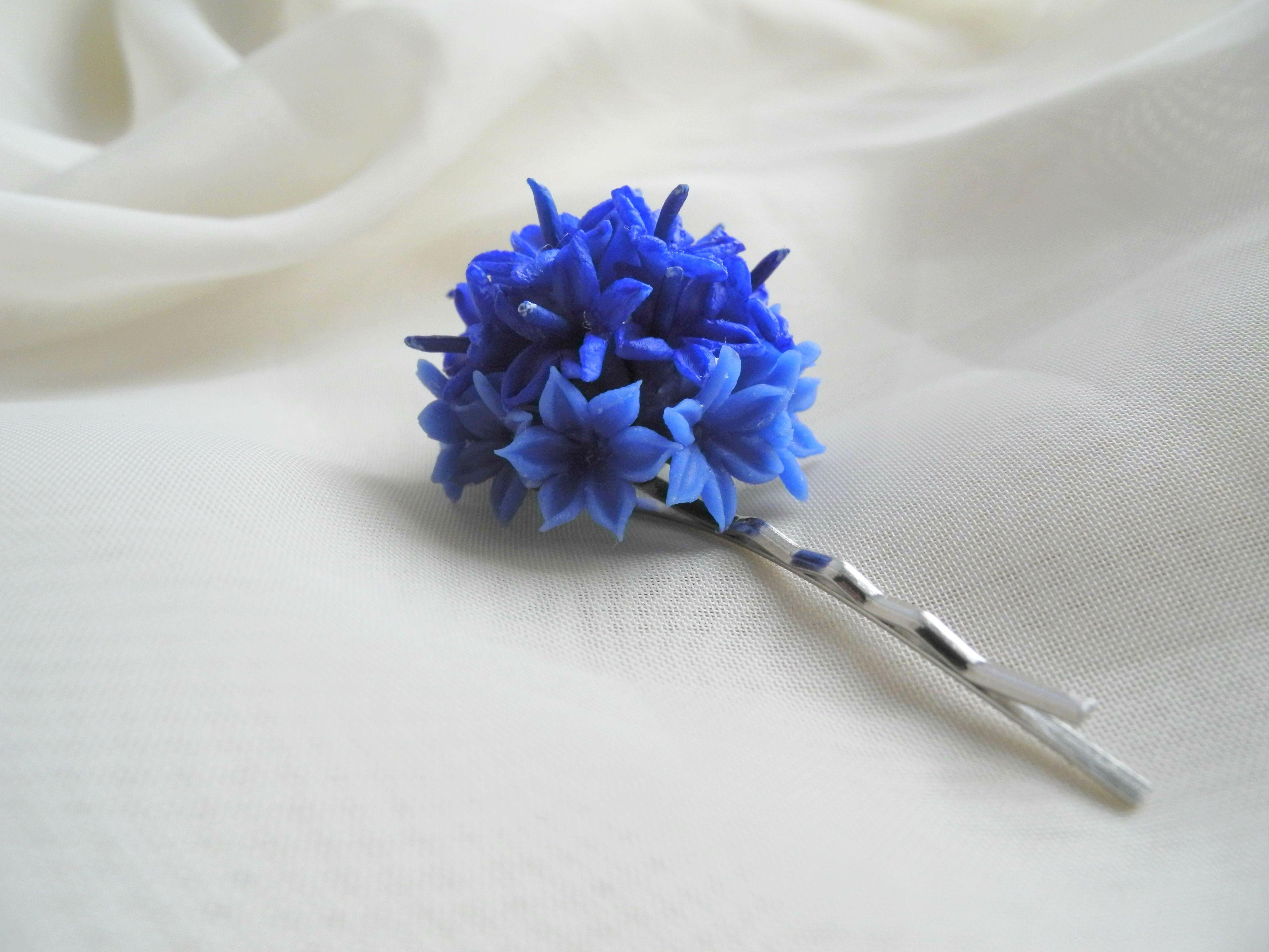заколка украшение proglina керамическаяфлористика холодныйфарфор василек подаркиручнойработы белоусоваанна невидимка handmade цветы своимируками