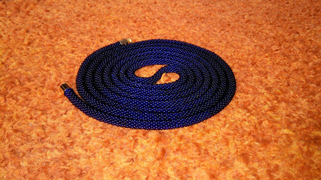 бусыдлинные бисер синий лариат