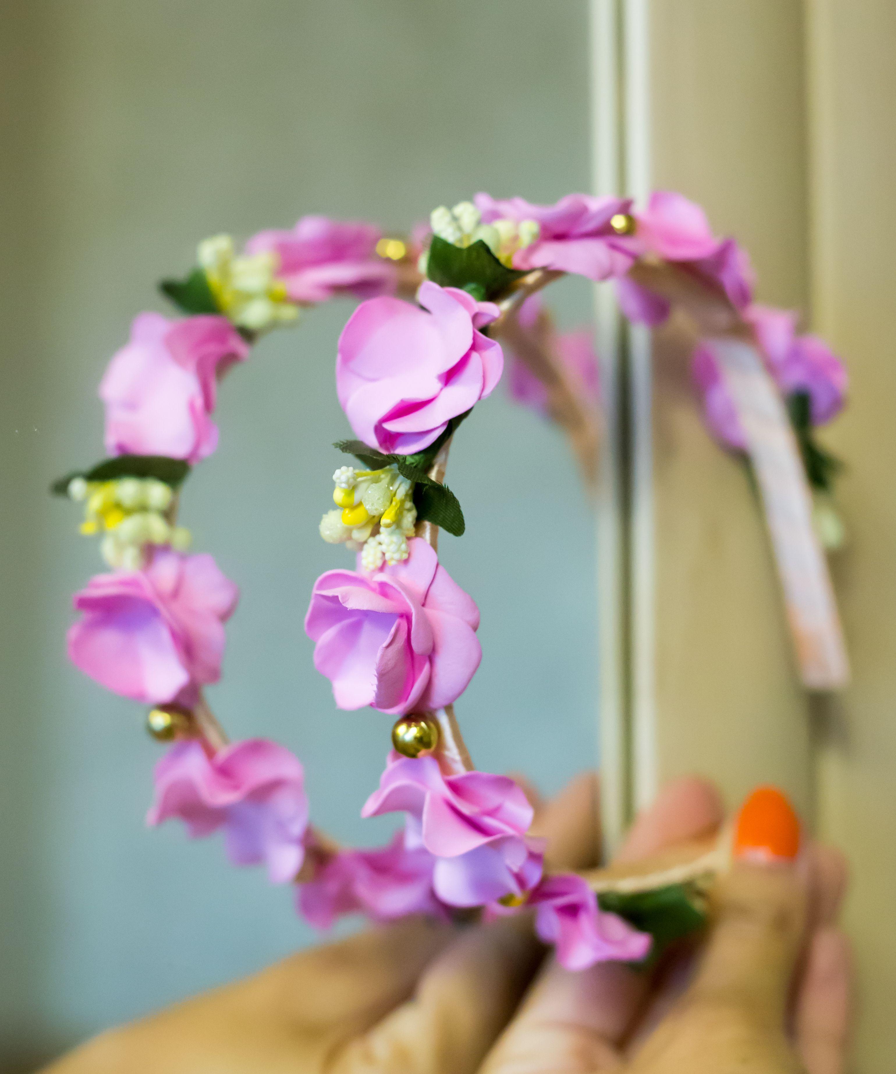 обруч бусины тычинки красивый фоамиран ободок детский цветы розовый яркий атлас