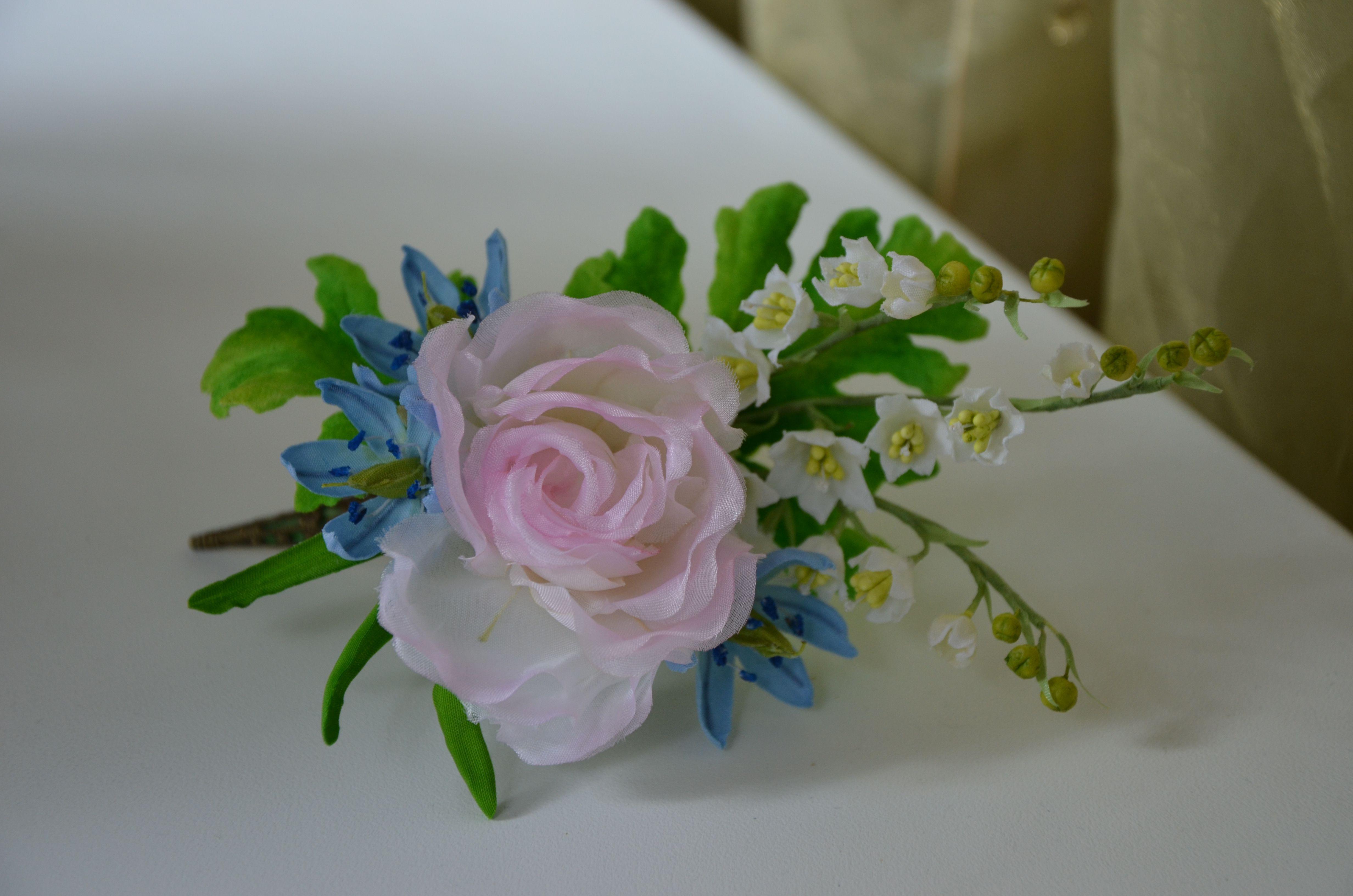 шелк бутоньерка аксессуар флористика брошь цветы