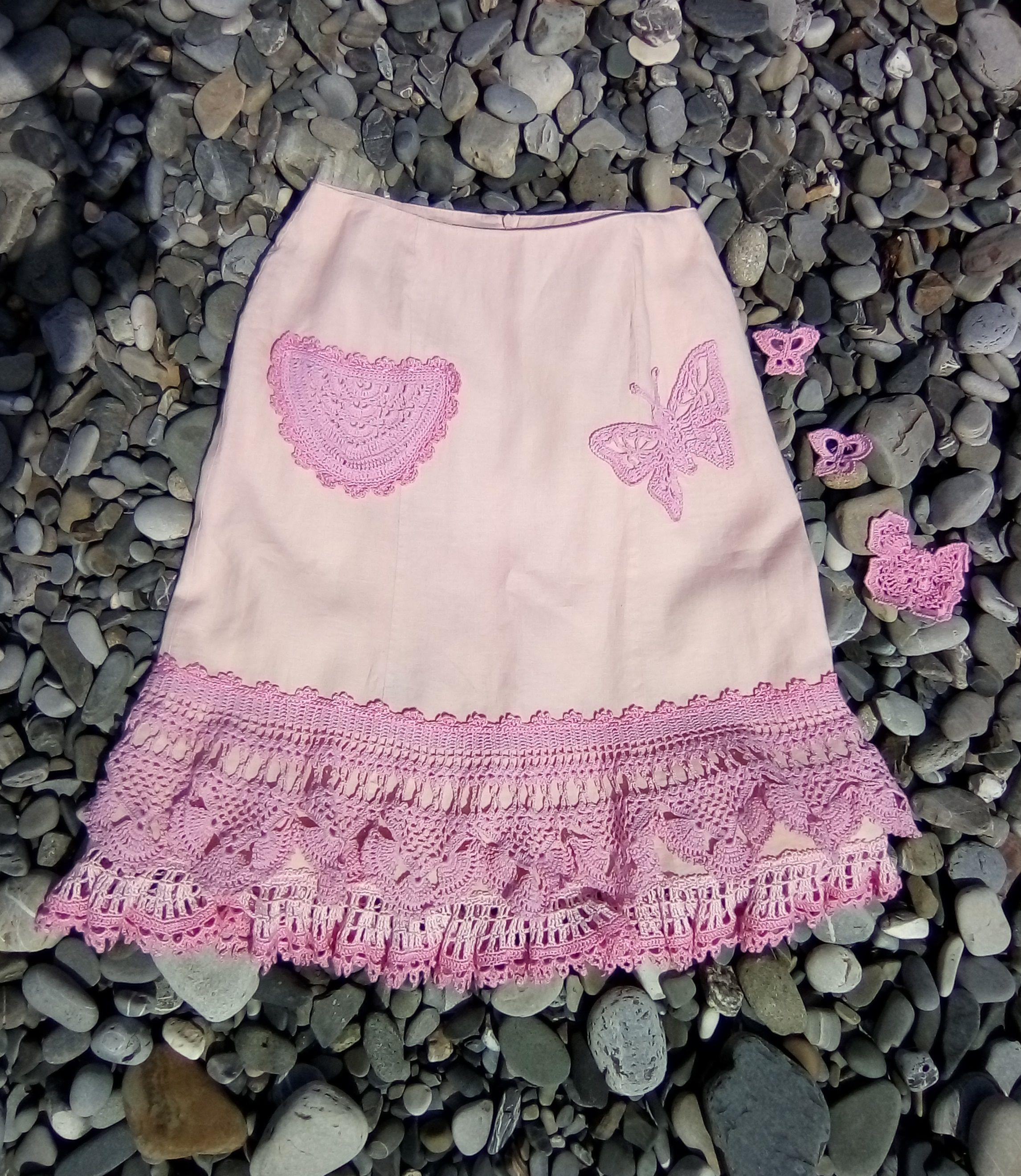 вязаная льняная вязаное лен черная ручная кружево запахом юбка красная работа ткань