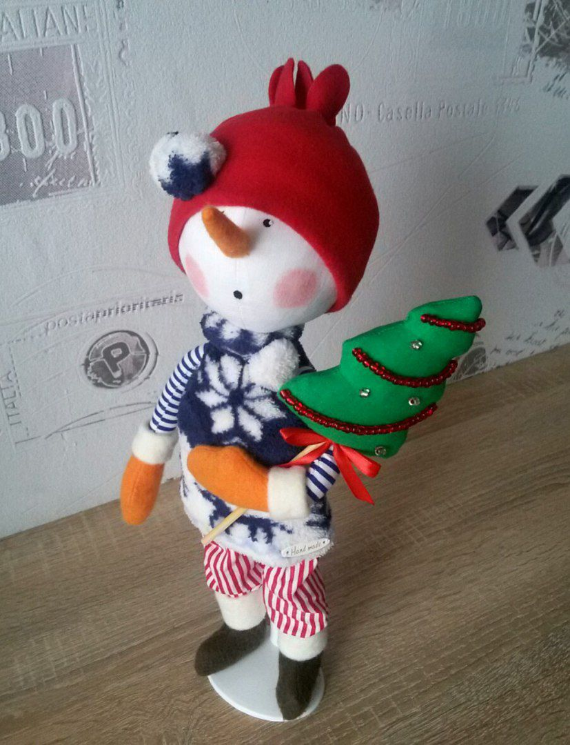 интерьерная игрушка кукла снеговик новыйгод подарок