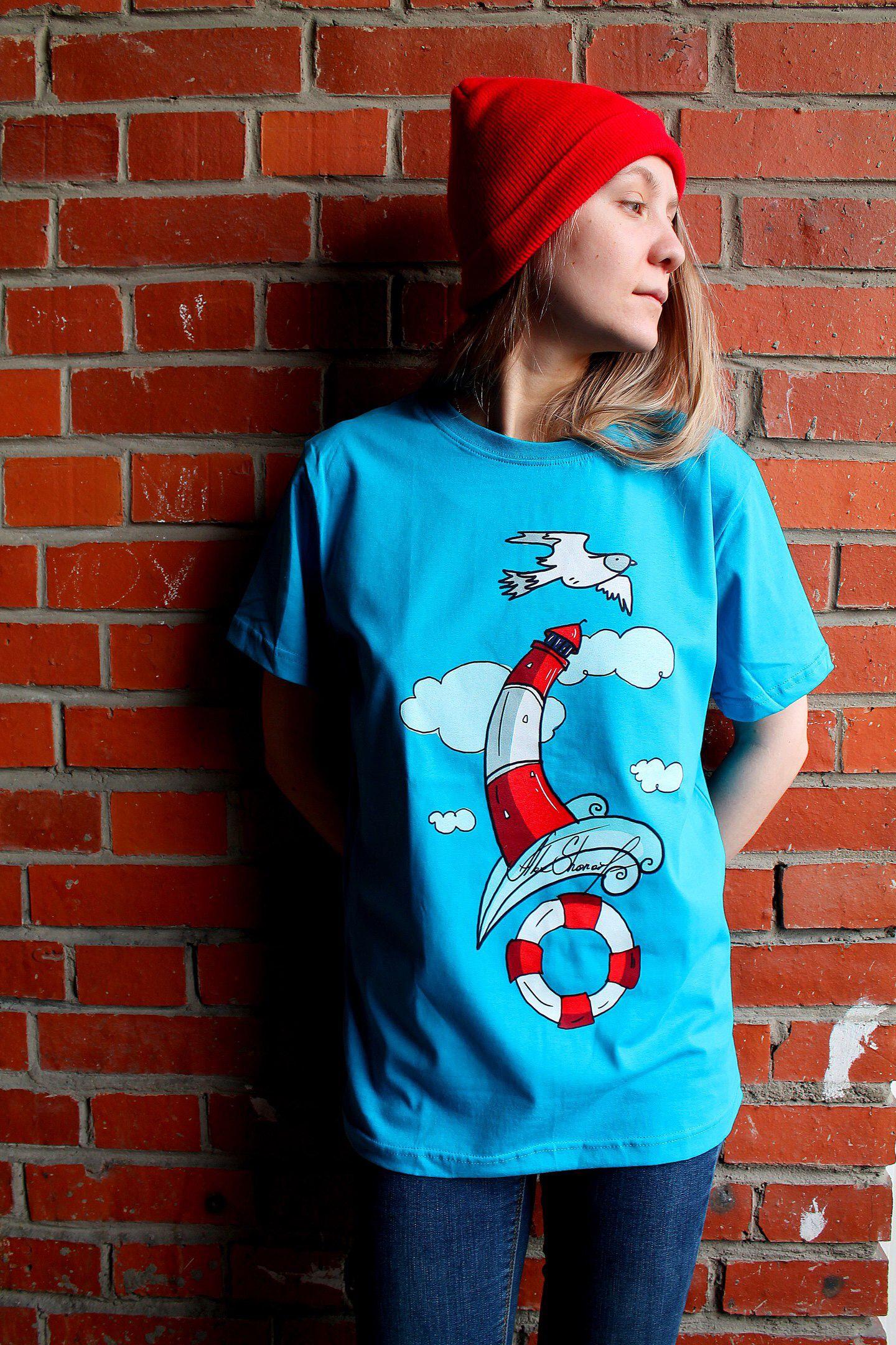 морской чайка принтом стиль маяк авторский футболка спб ткани принт печать