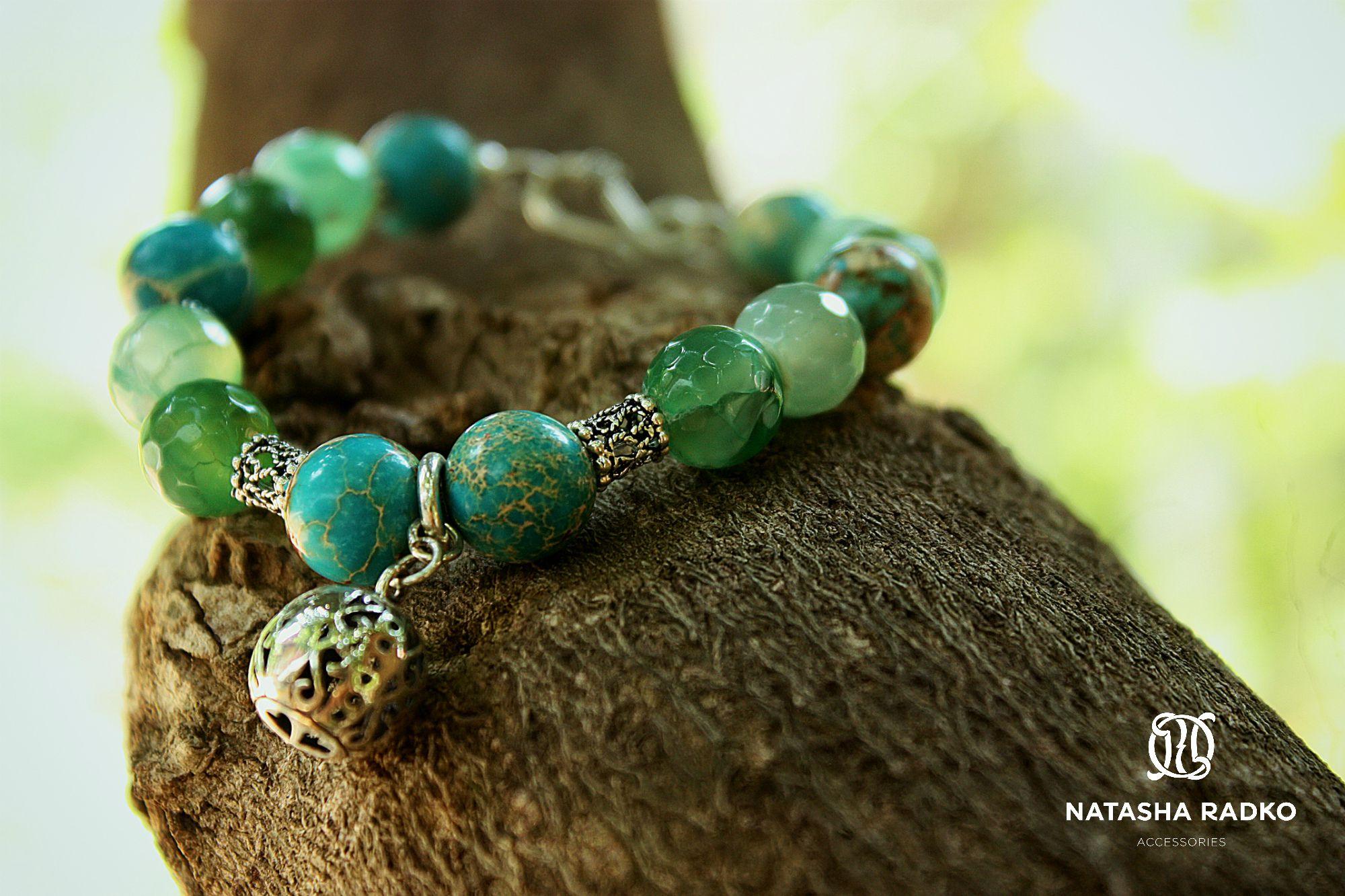 изумрудный украшение браслет агат натуральные серебро камни подарок варисцит